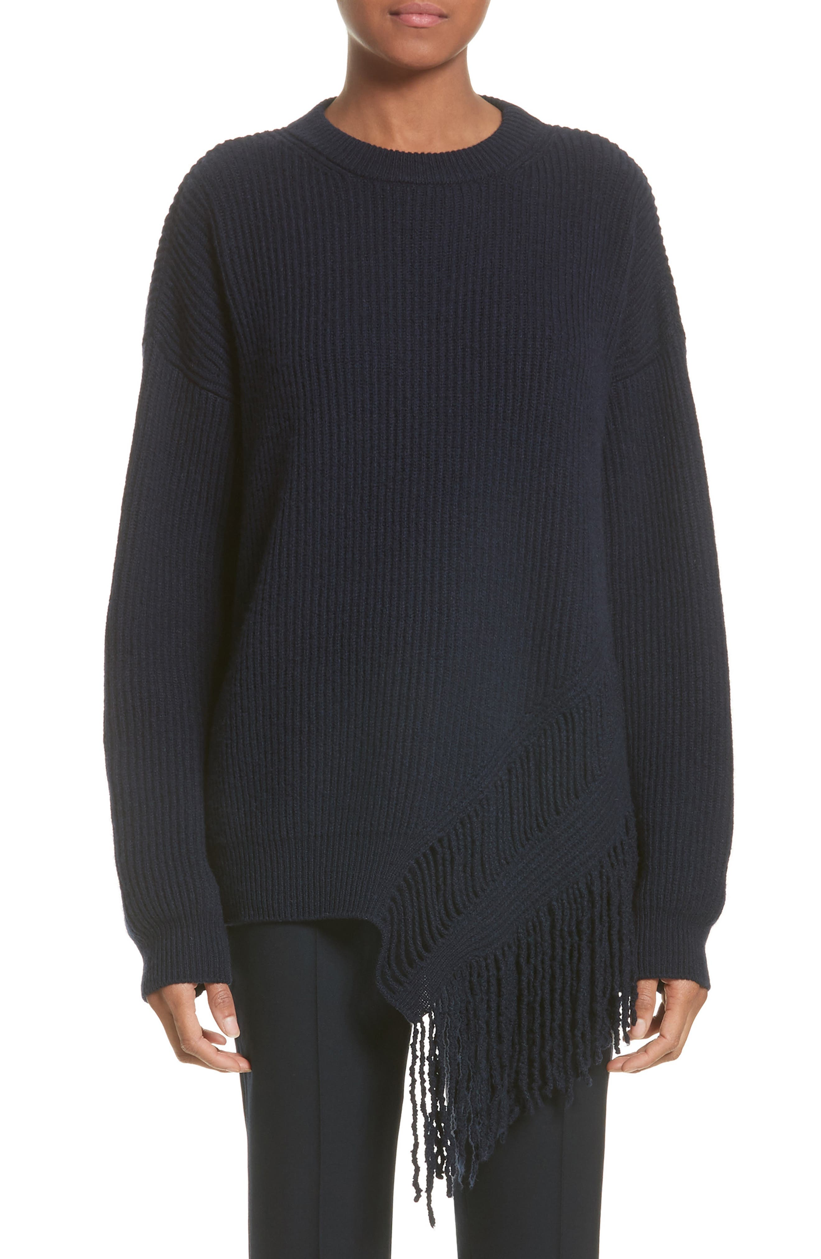 Cashmere & Wool Fringe Sweater, Main, color, 410