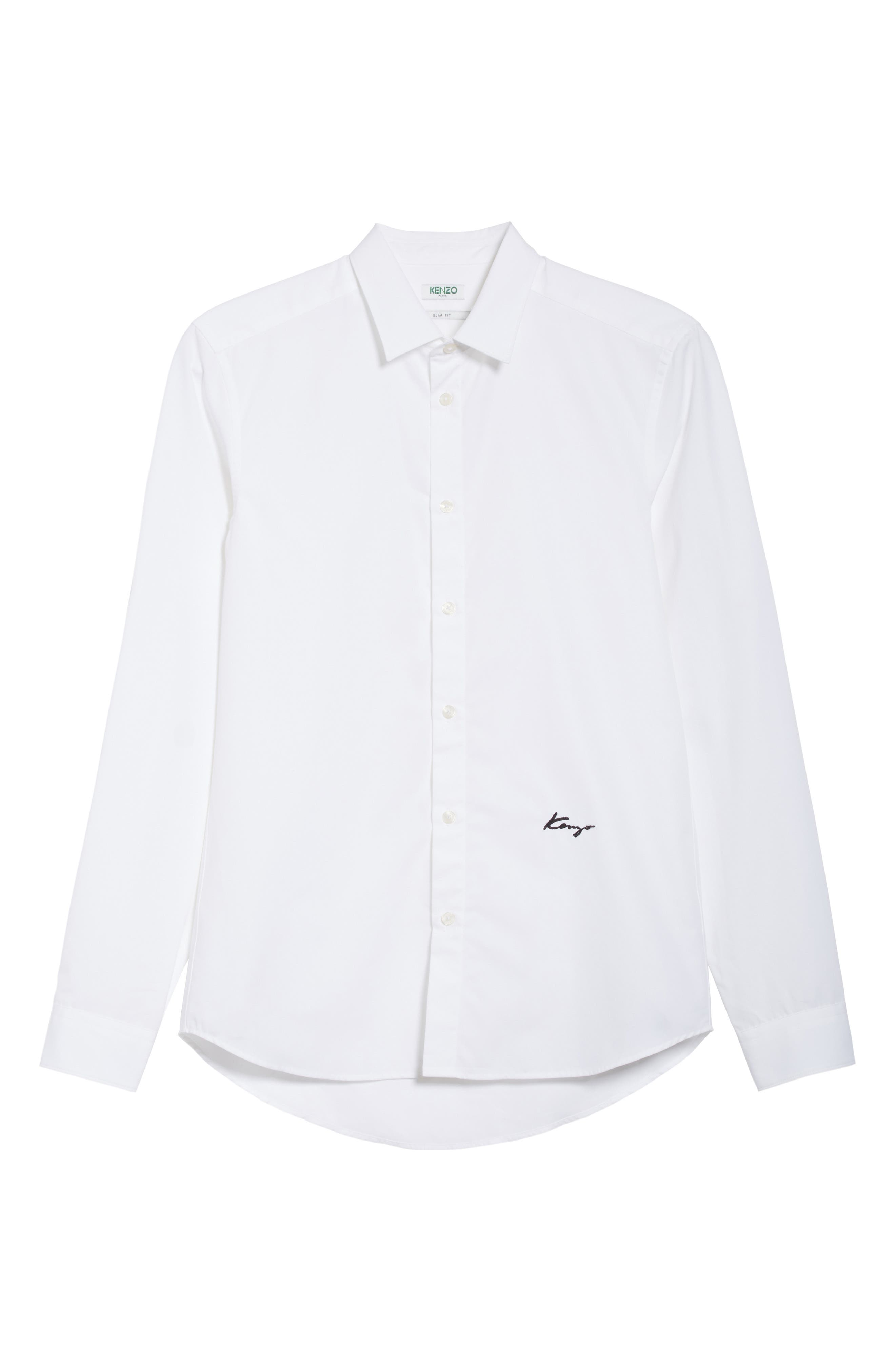 KENZO,                             Slim Fit Embroidered Shirt,                             Alternate thumbnail 6, color,                             100