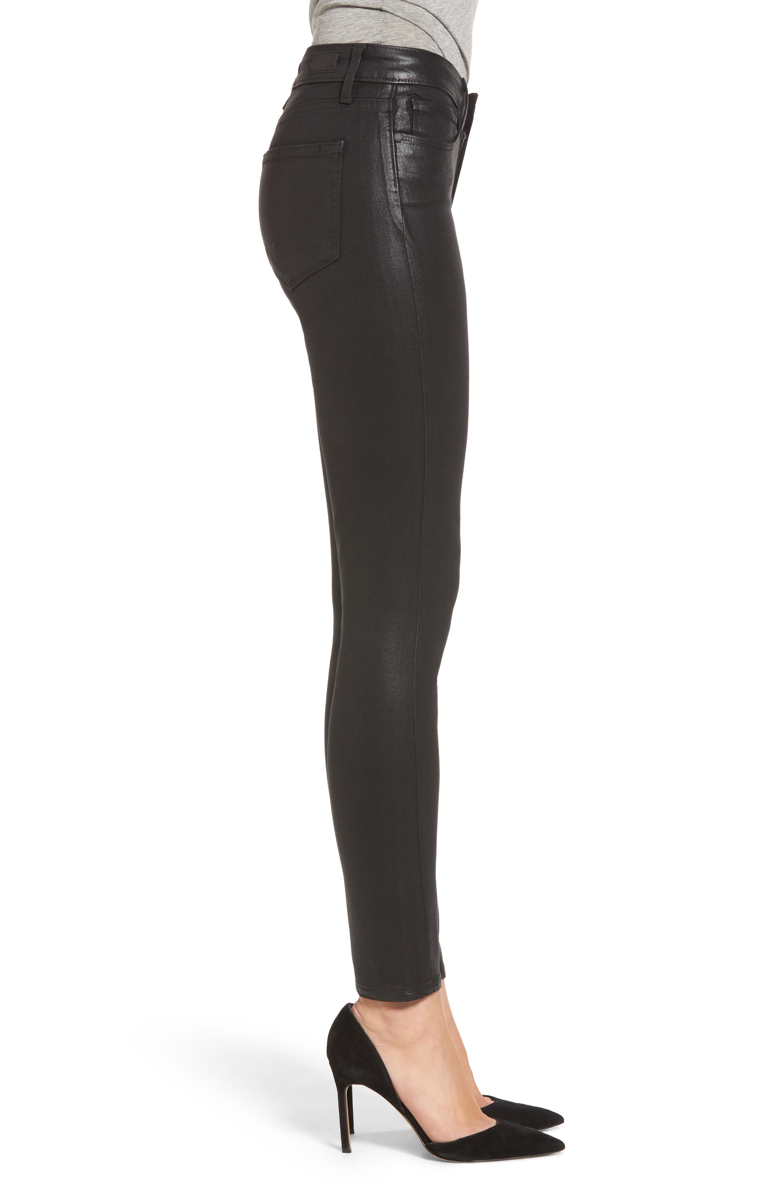 PAIGE,                             Transcend - Hoxton High Waist Ankle Skinny Jeans,                             Alternate thumbnail 3, color,                             LUXE BLACK COATED