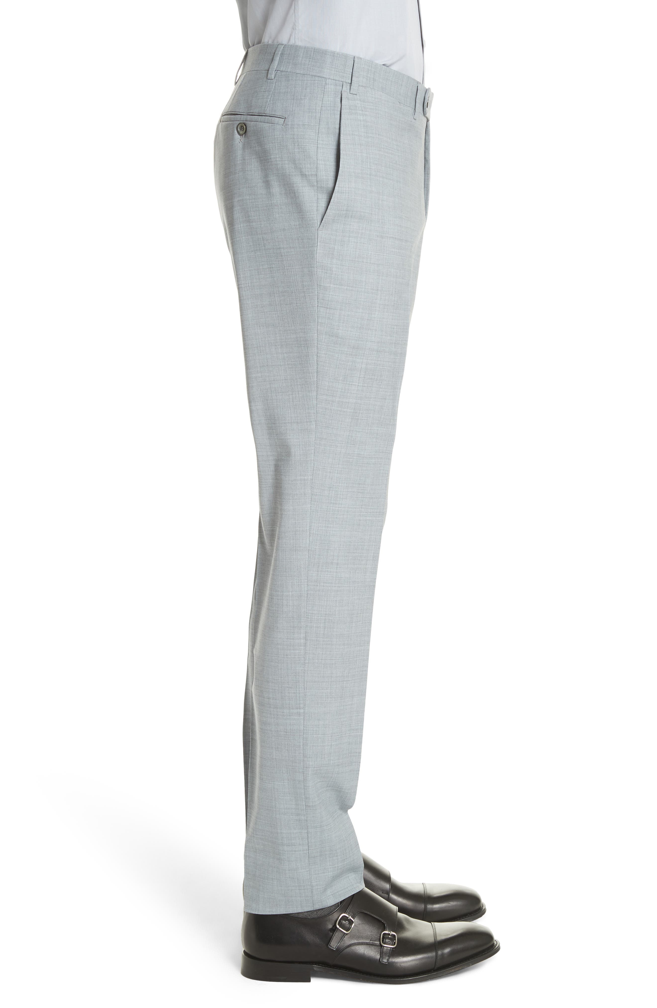 Kei Flat Front Solid Wool Trousers,                             Alternate thumbnail 7, color,