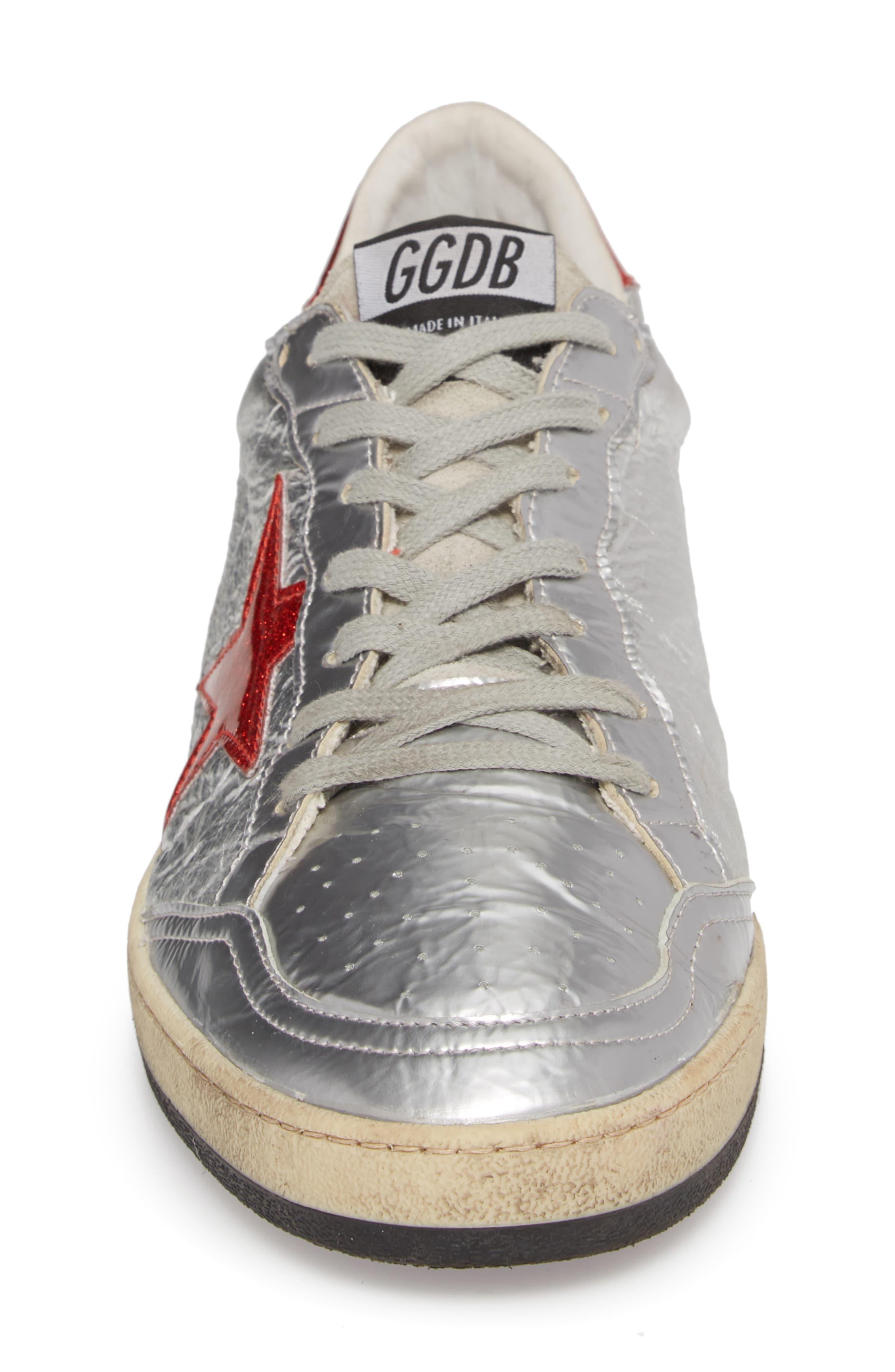 B-Ball Star Sneaker,                             Alternate thumbnail 4, color,                             SILVER-RED GLITTER- STAR DANCE