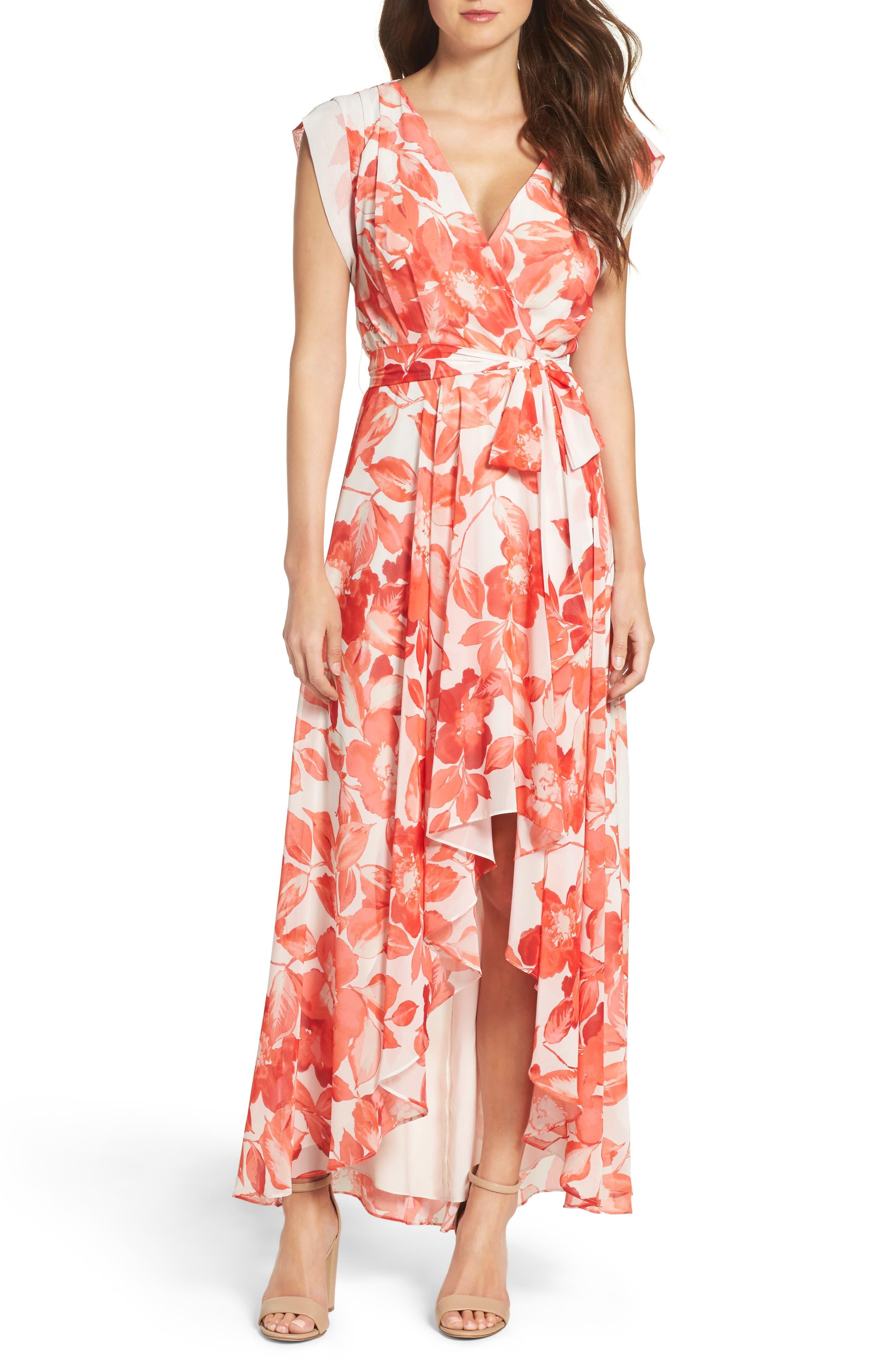 Surplice Obi High/Low Dress,                         Main,                         color, CORAL