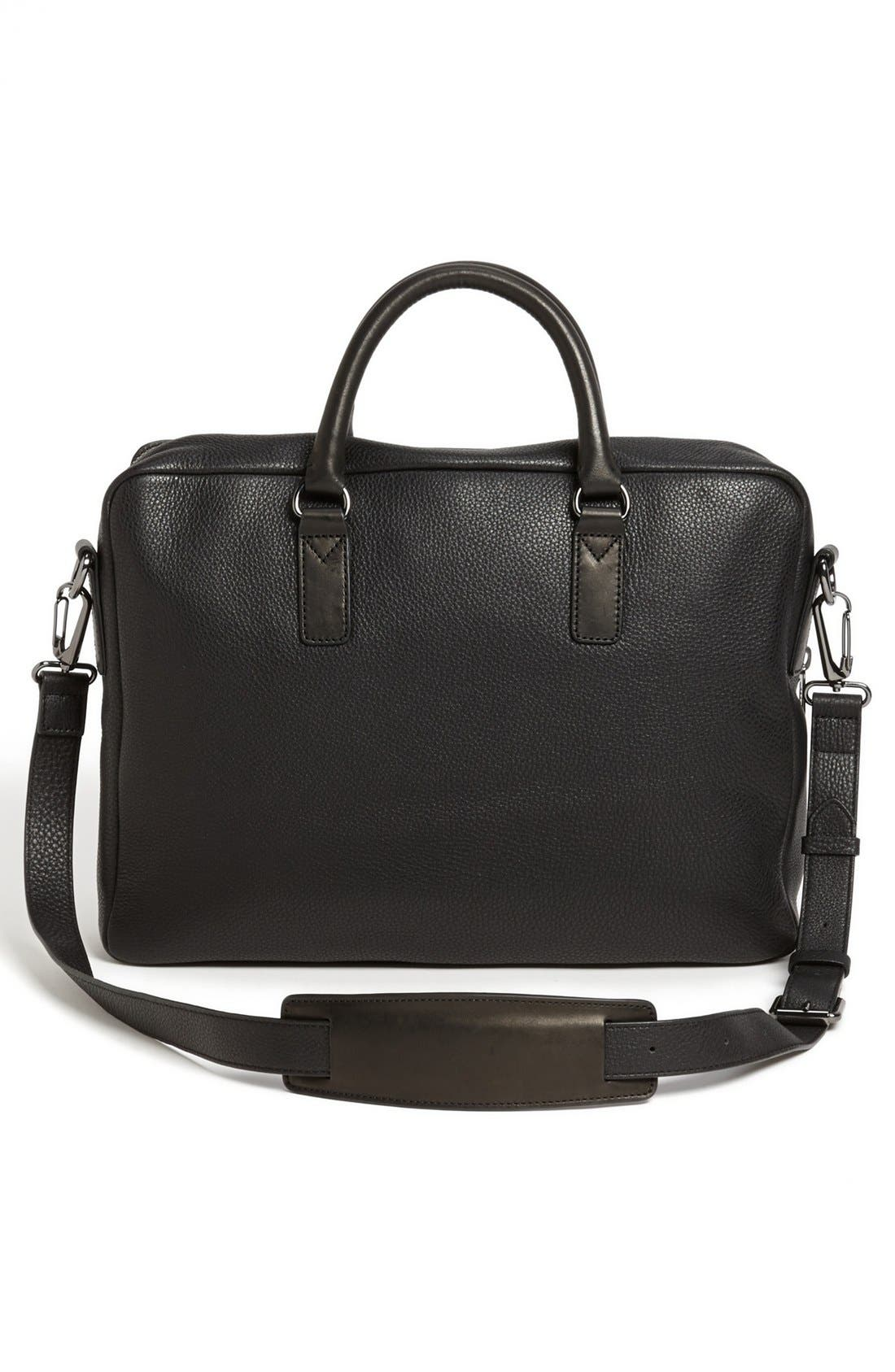 'Classic' Leather Briefcase,                             Alternate thumbnail 5, color,                             001