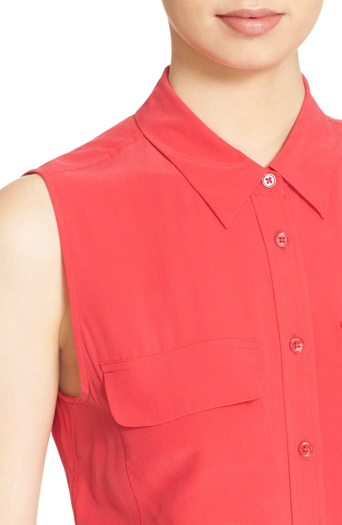 'Slim Signature' Sleeveless Silk Shirt,                             Alternate thumbnail 173, color,