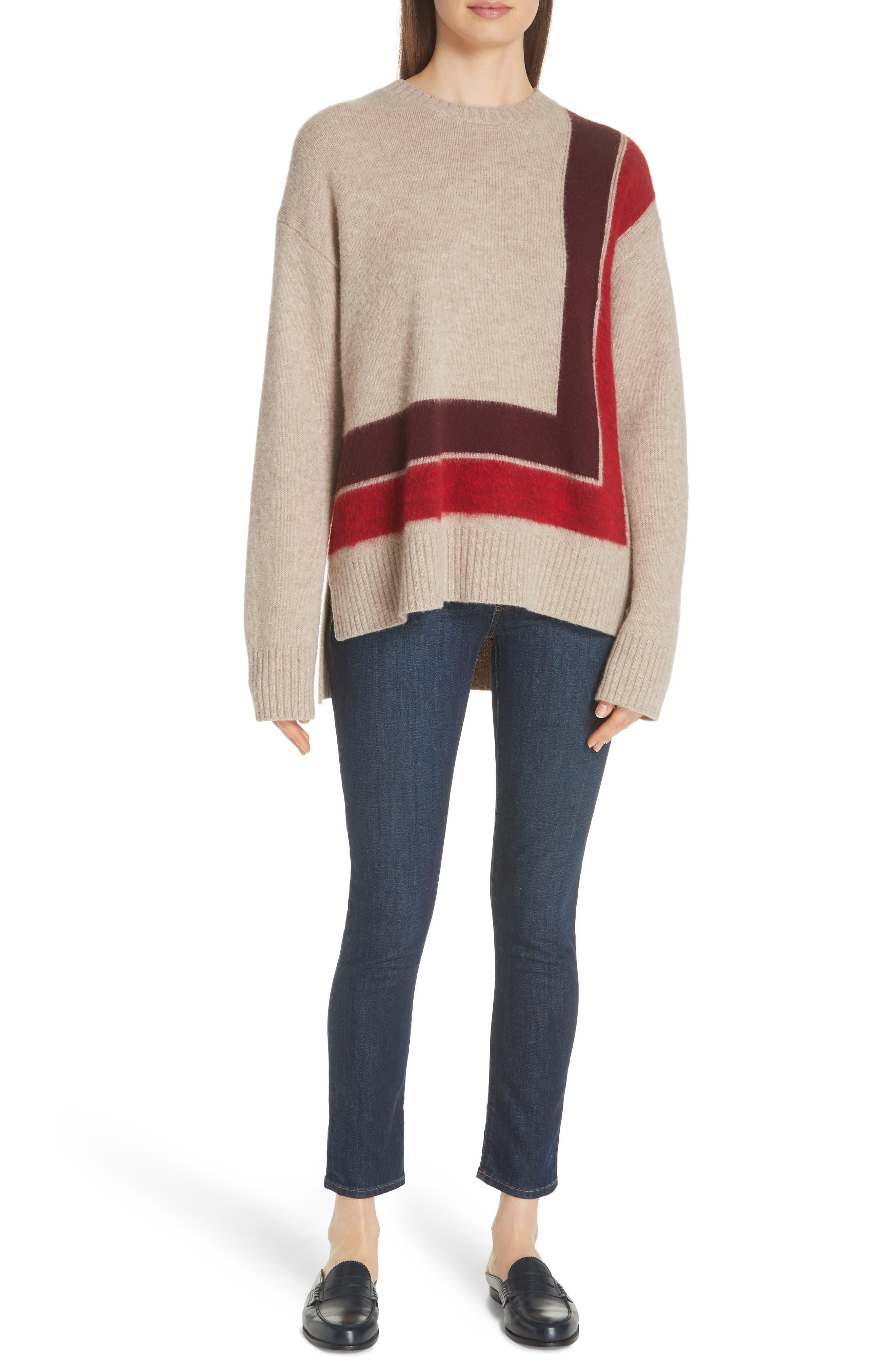 Derek Lam 10 Crosby Crewneck Blanket Sweater, Beige