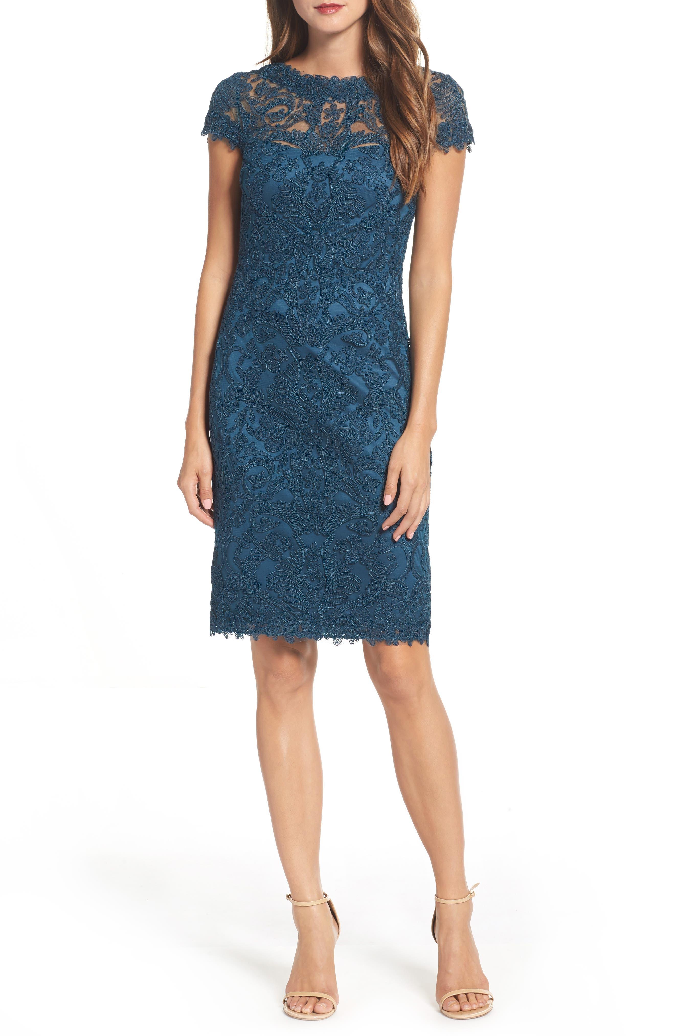 Illusion Yoke Lace Sheath Dress,                             Main thumbnail 2, color,