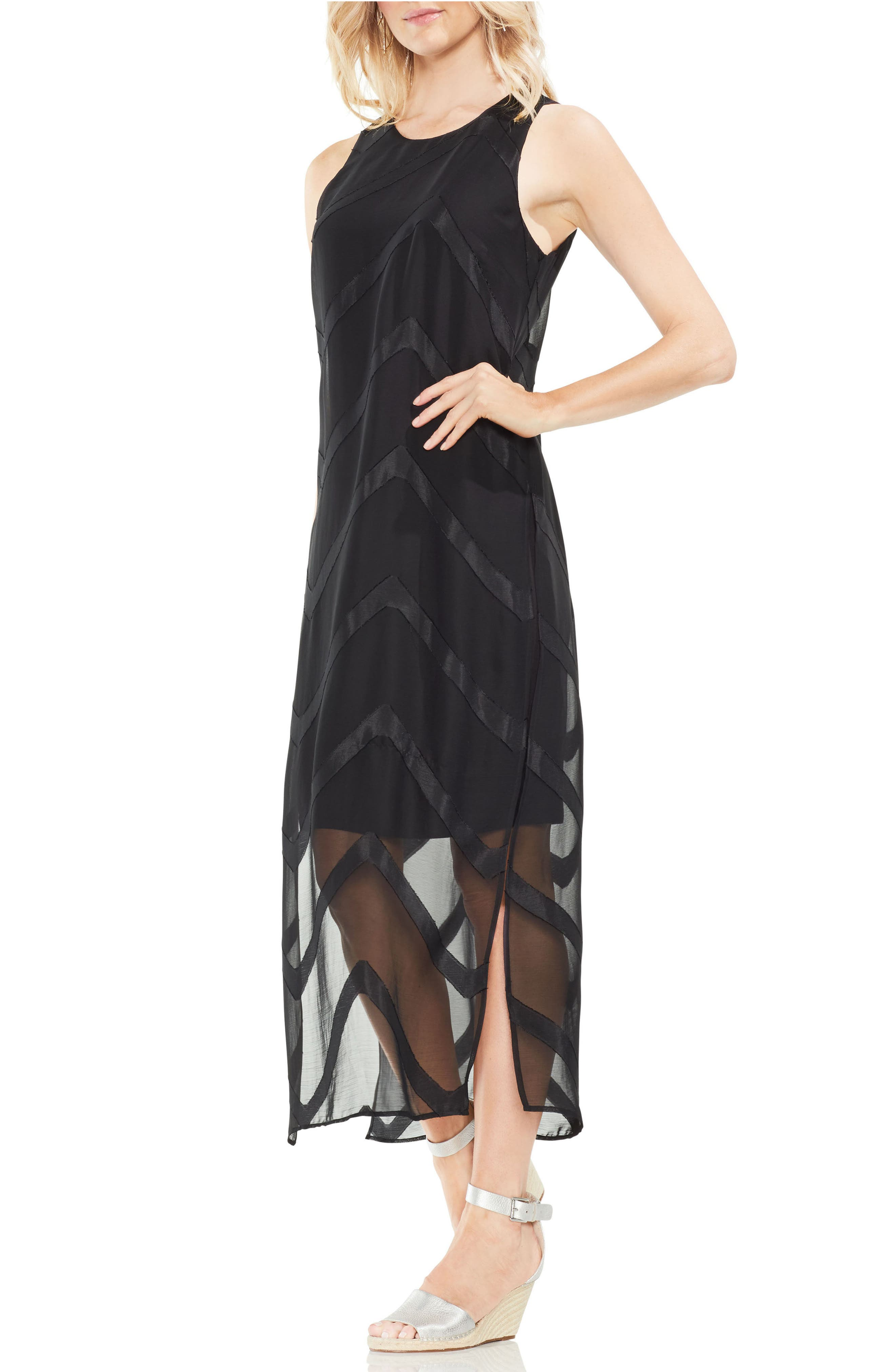 Sheer Chevron Maxi Dress,                         Main,                         color,