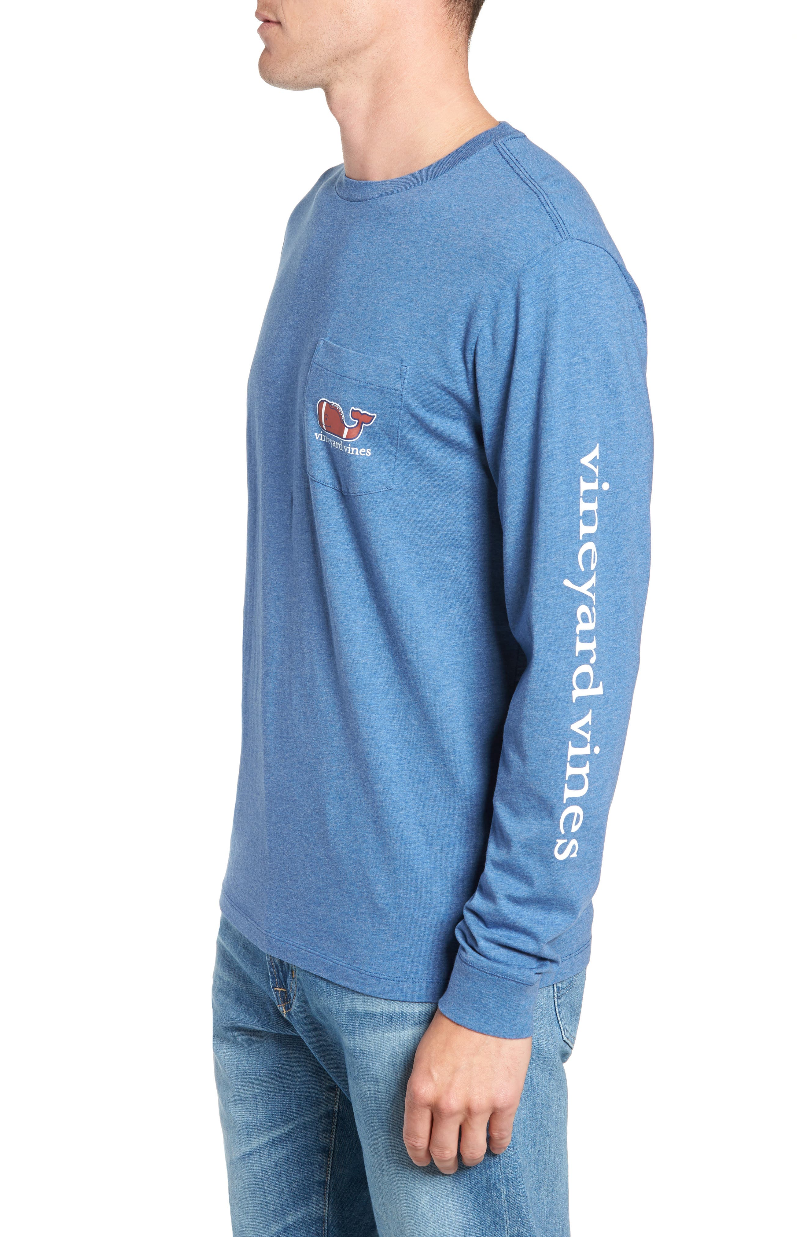 Football Whale Long Sleeve Pocket T-Shirt,                             Alternate thumbnail 3, color,                             MOONSHINE