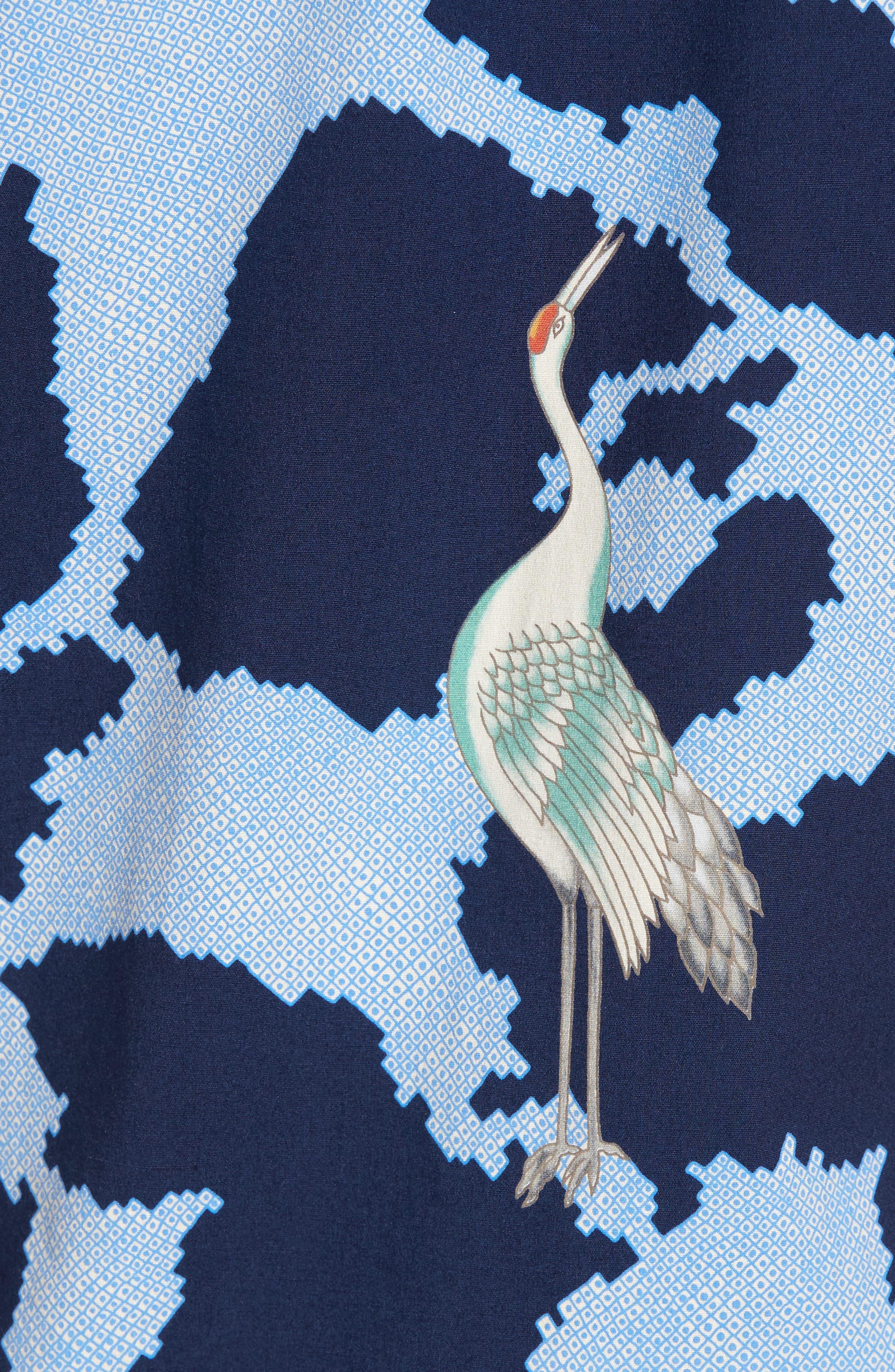 1000 Cranes Classic Fit Print Sport Shirt,                             Alternate thumbnail 5, color,                             415