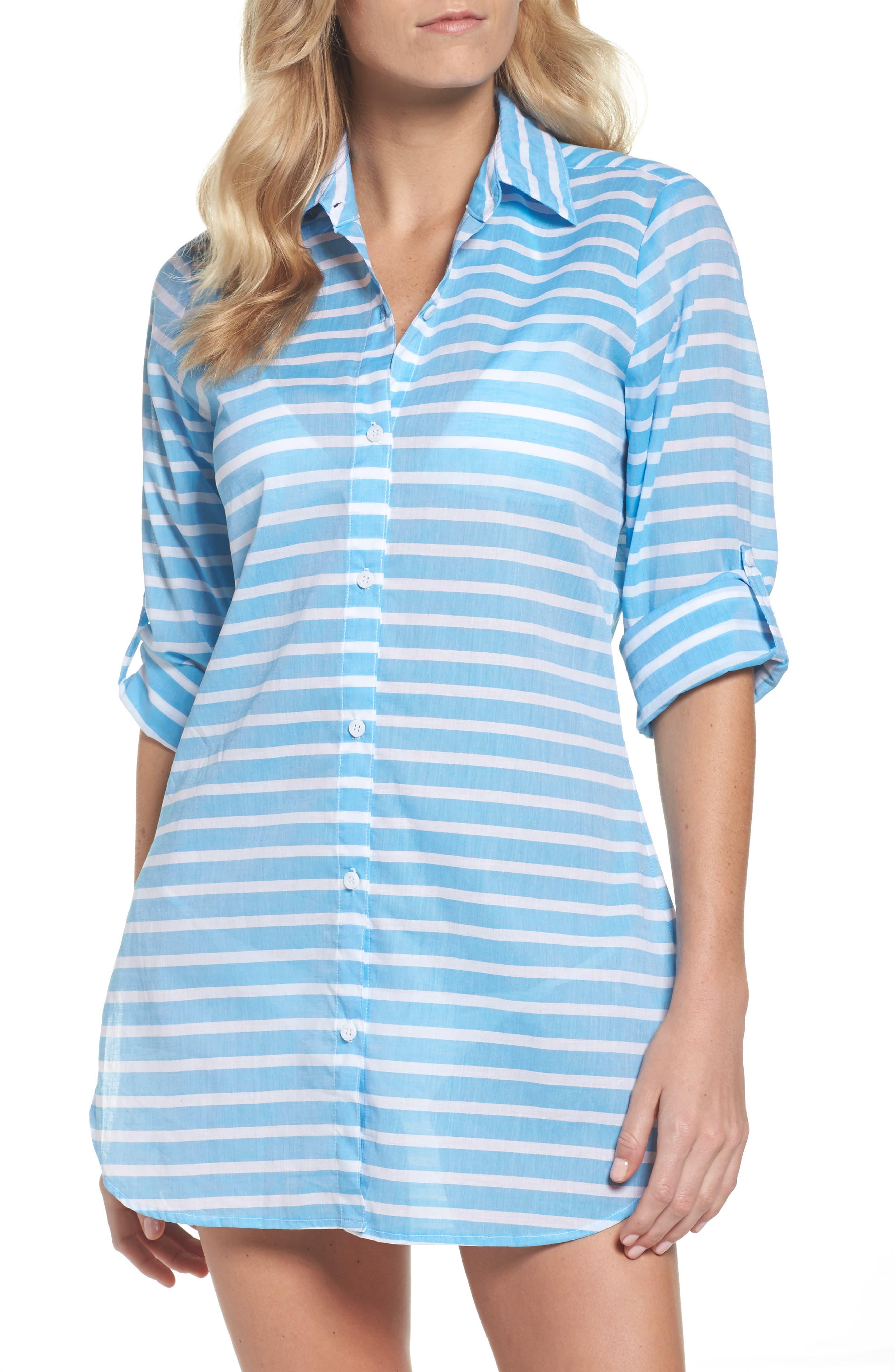 Brenton Stripe Boyfriend Shirt Cover-Up,                             Main thumbnail 2, color,