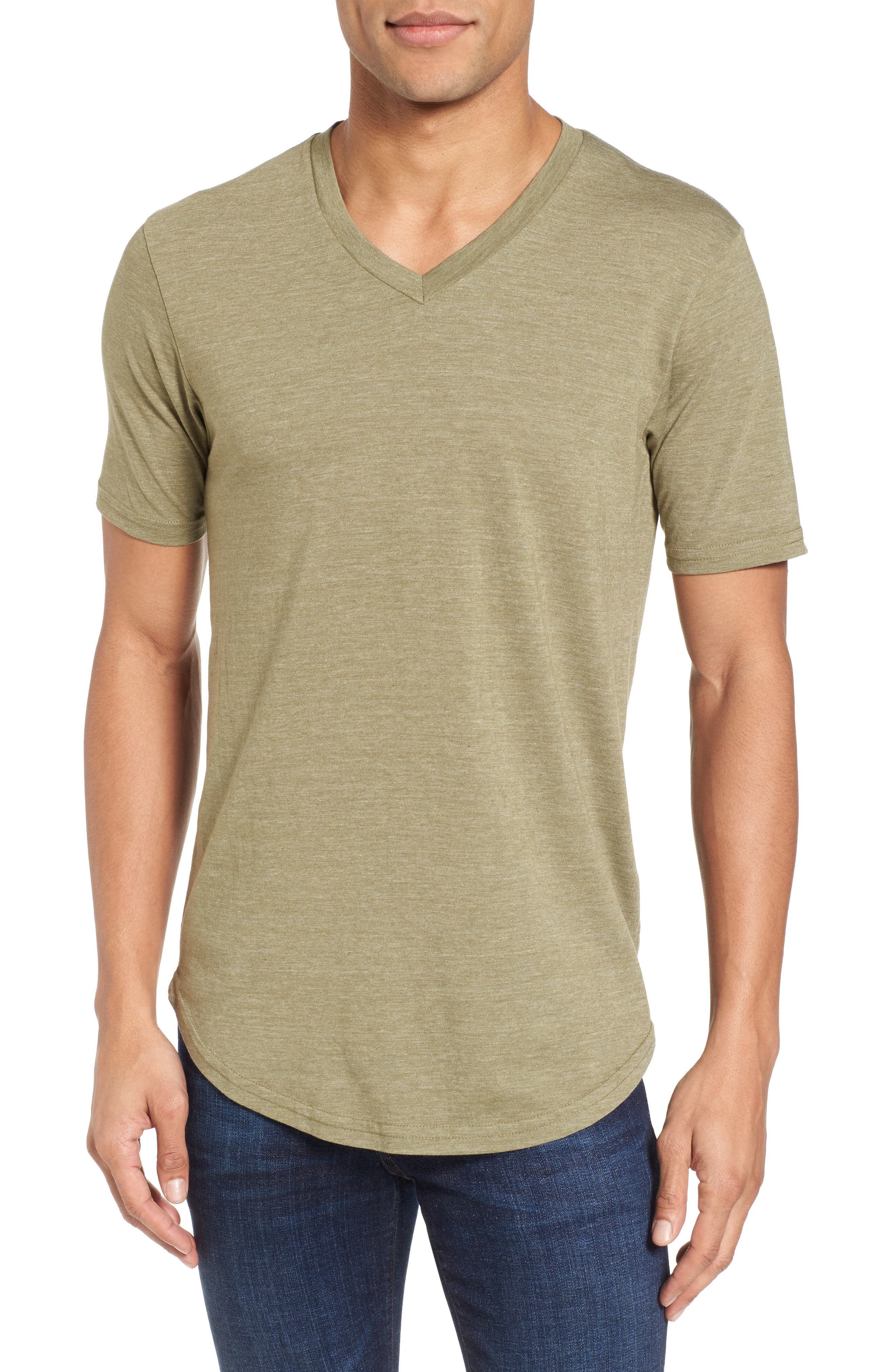 Scallop Triblend V-Neck T-Shirt,                             Main thumbnail 3, color,