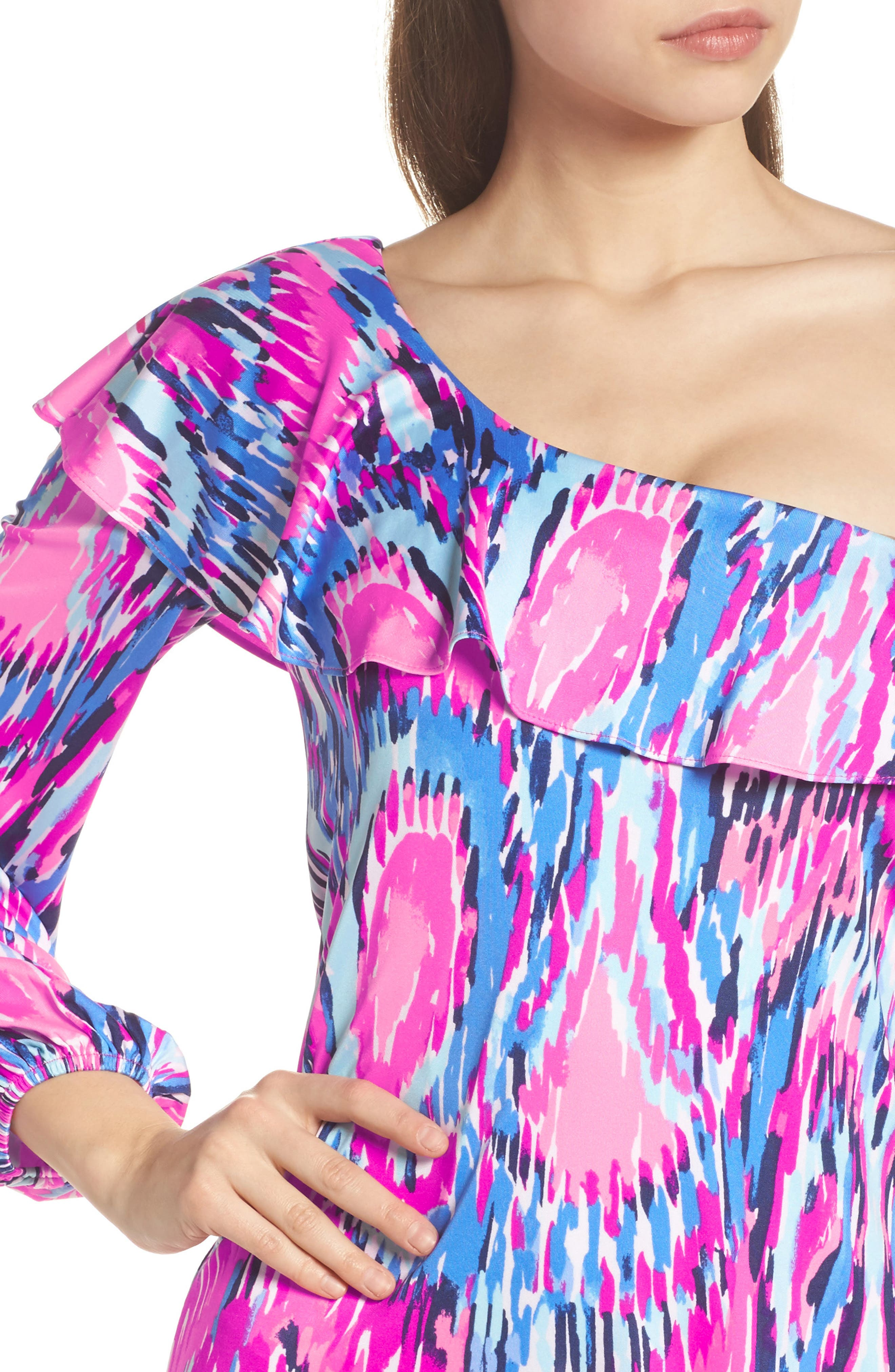 Amante One-Shoulder Silk Dress,                             Alternate thumbnail 4, color,                             650