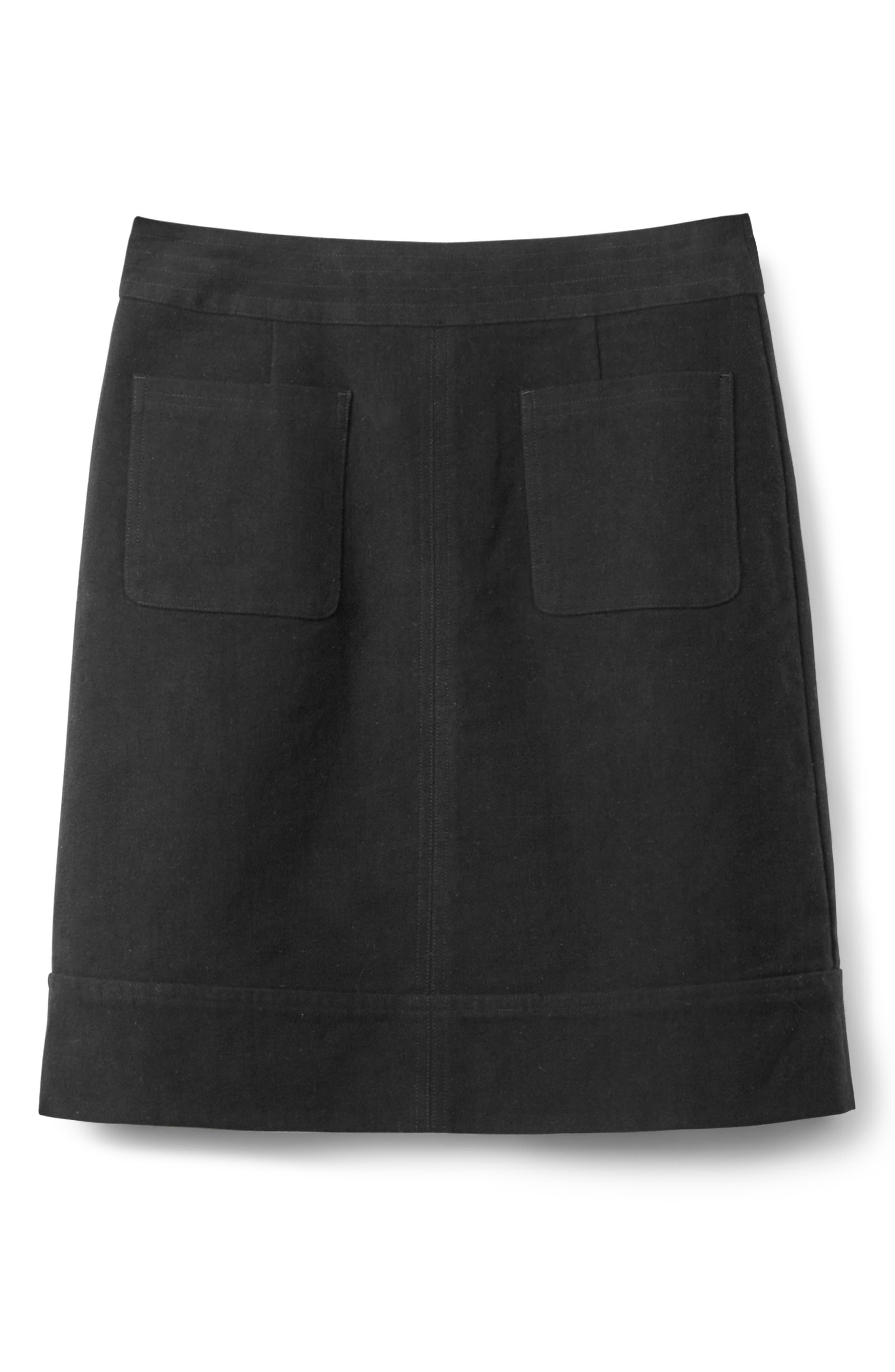 BODEN,                             Dorchester Patch Pocket Stretch Cotton Miniskirt,                             Alternate thumbnail 5, color,                             001