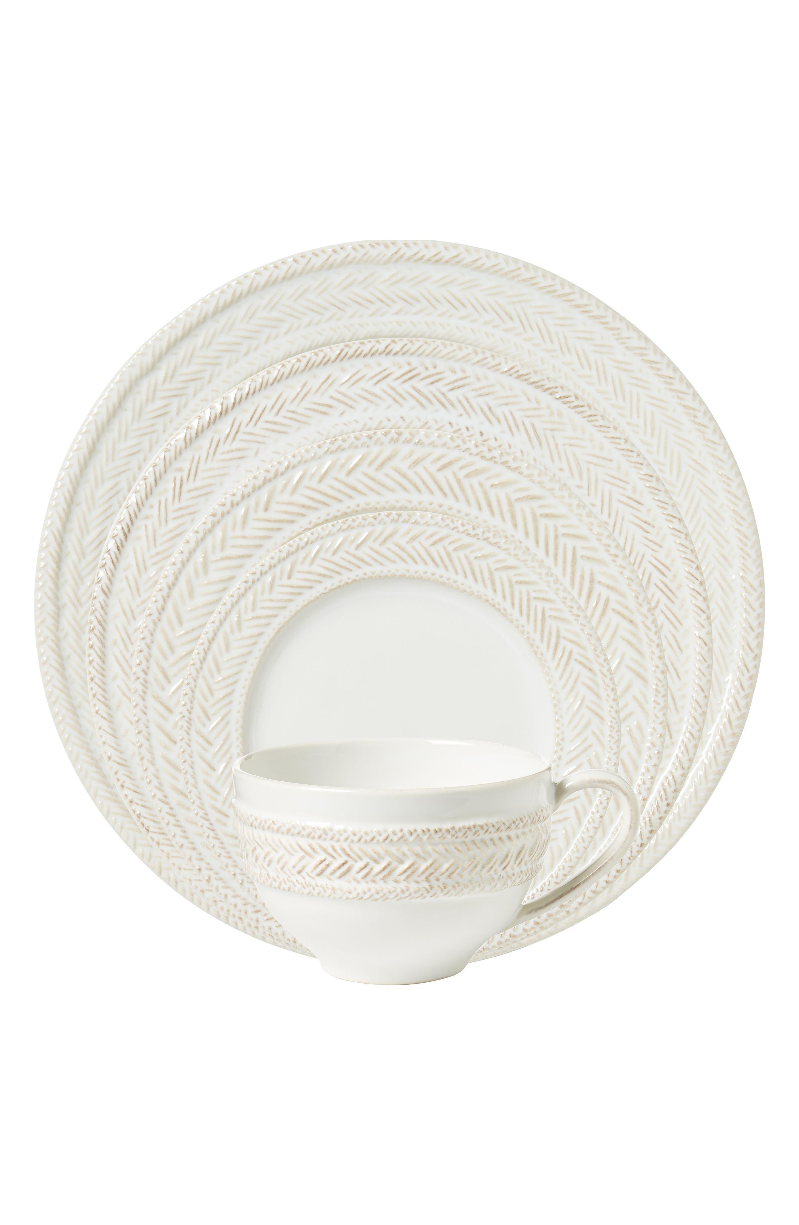 Le Panier 5-Piece Ceramic Place Setting,                         Main,                         color, WHITE