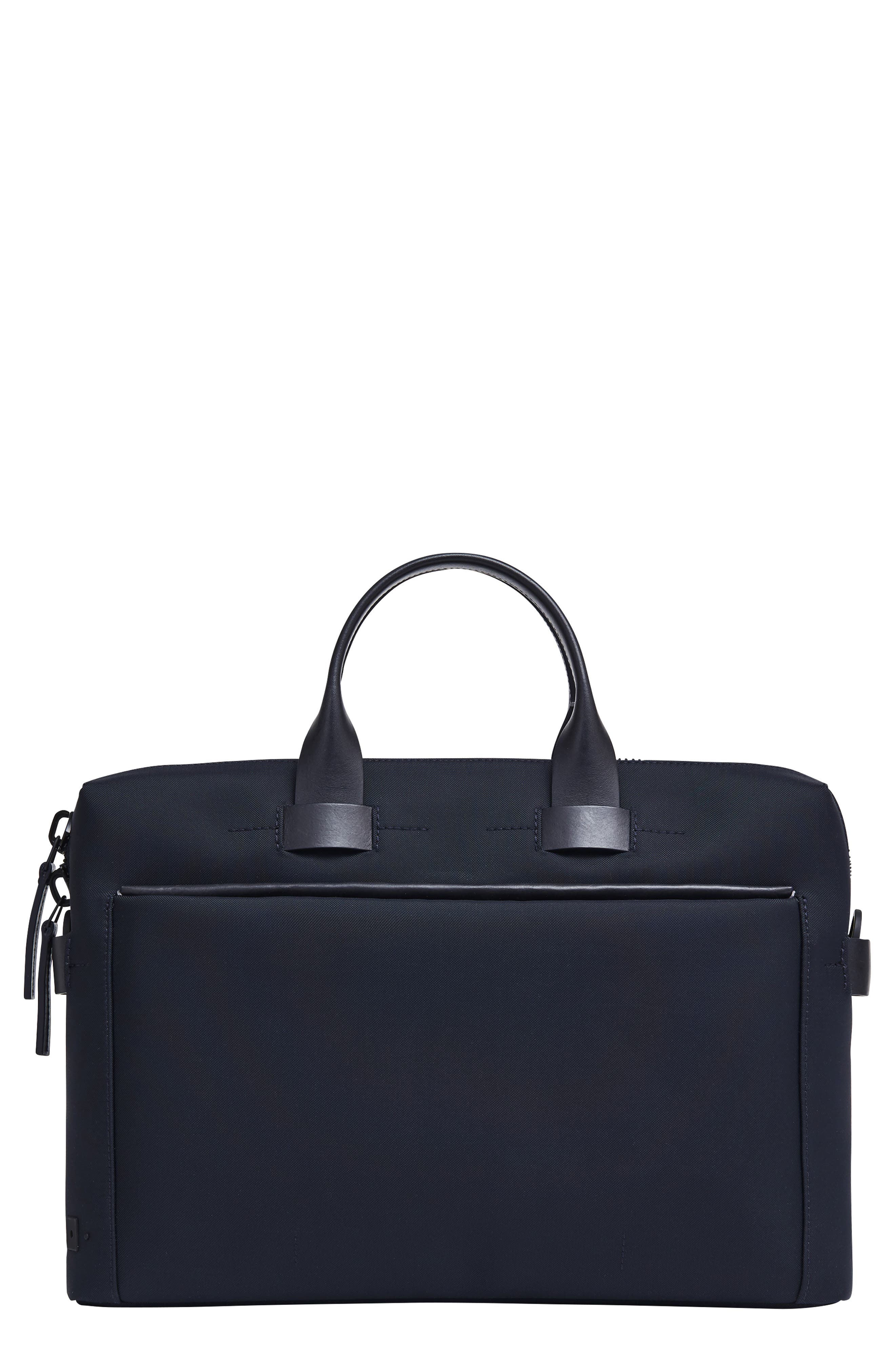 Slim Briefcase,                             Main thumbnail 1, color,                             NAVY NYLON/ NAVY LEATHER