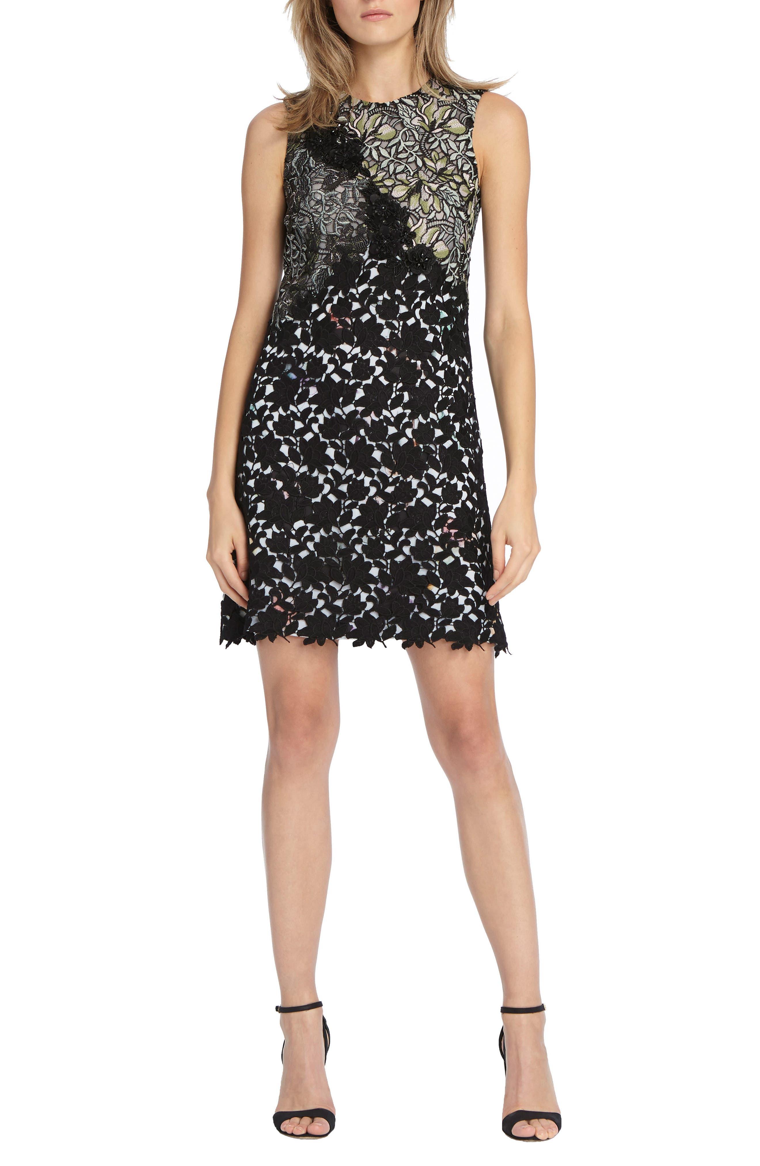 Mixed Lace Shift Dress,                             Main thumbnail 1, color,                             001