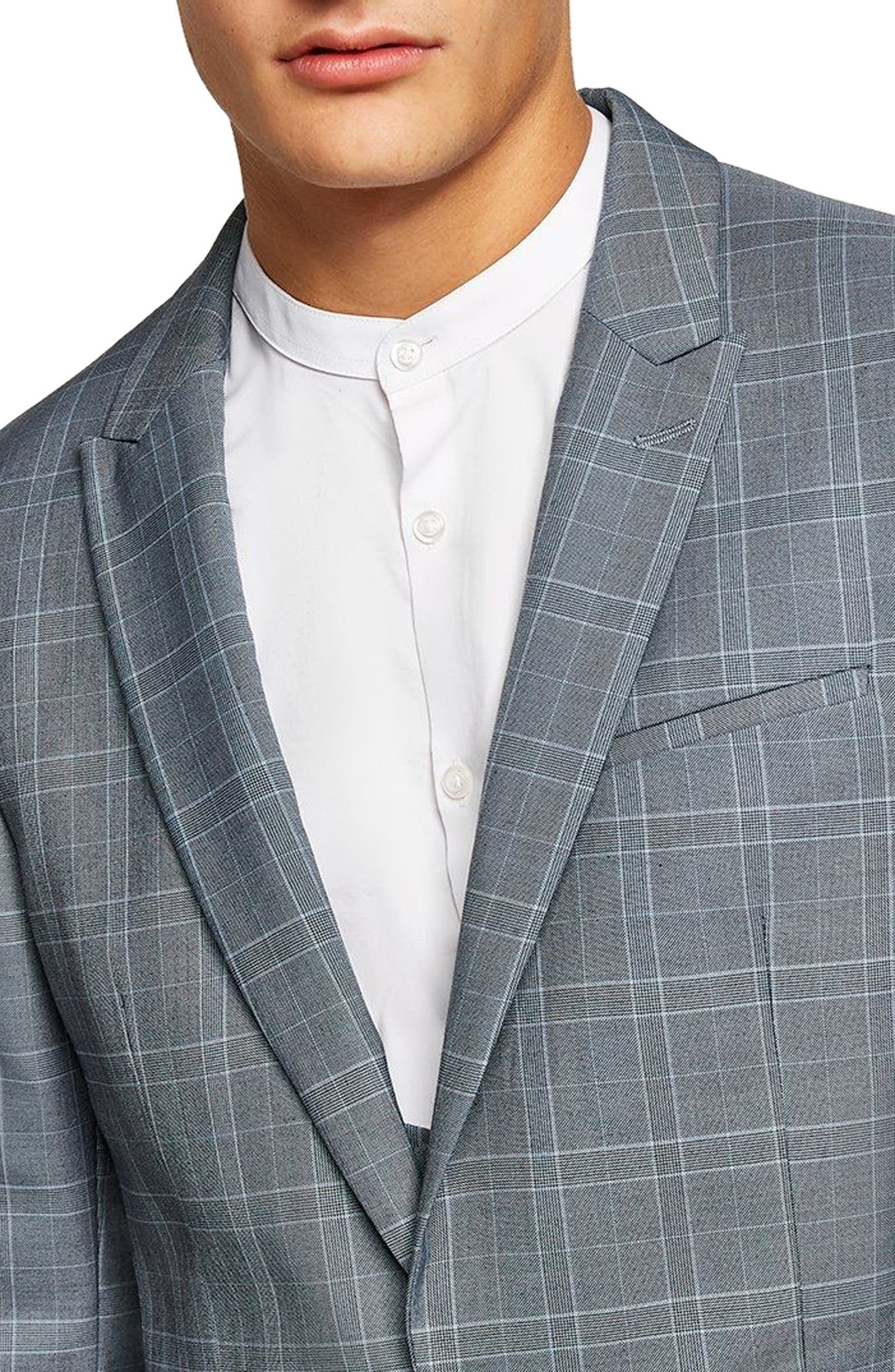 Skinny Fit Check Suit Jacket,                             Alternate thumbnail 3, color,                             400