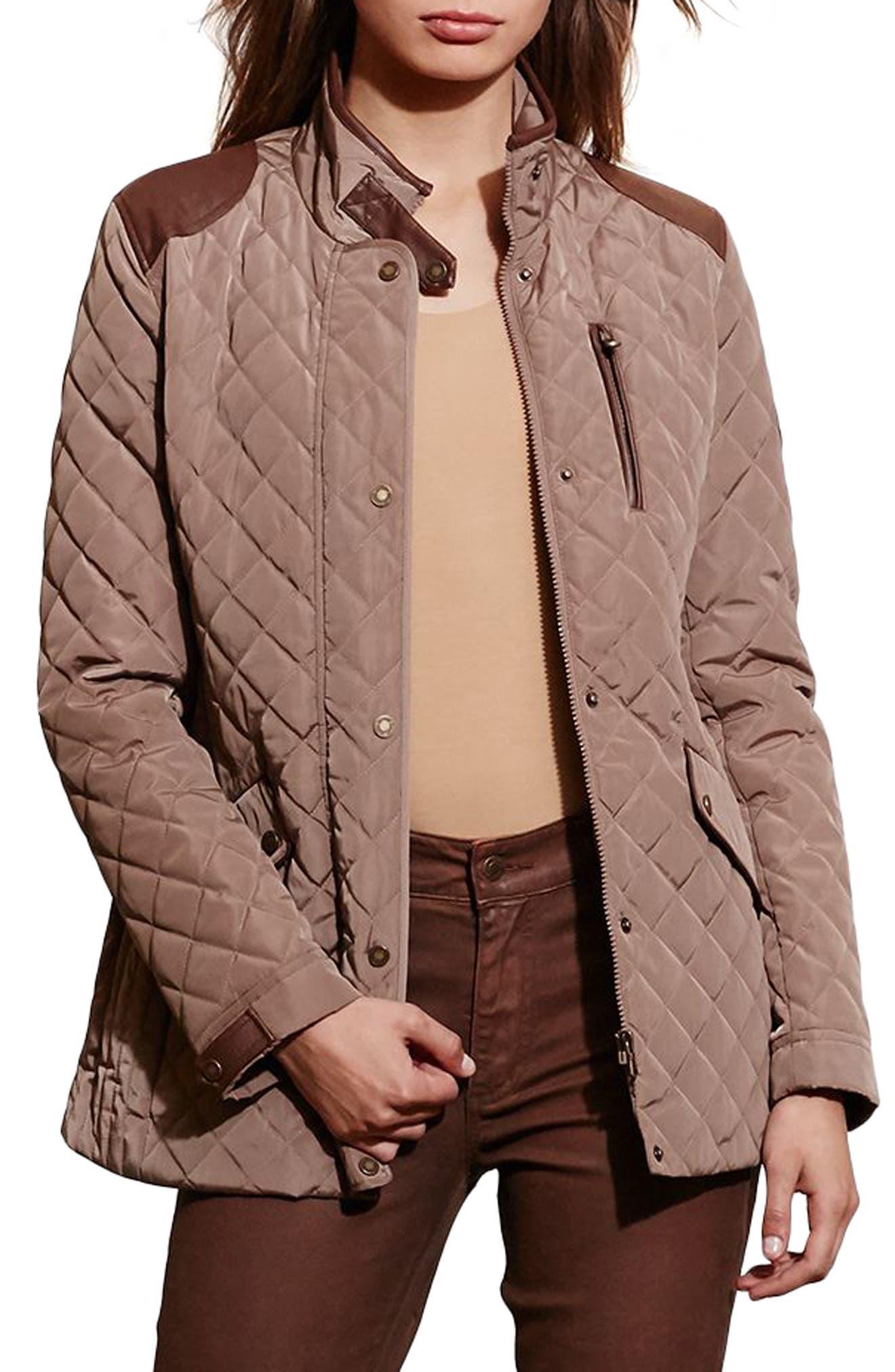 LAUREN RALPH LAUREN Diamond Quilted Jacket with Faux Leather Trim, Main, color, 246