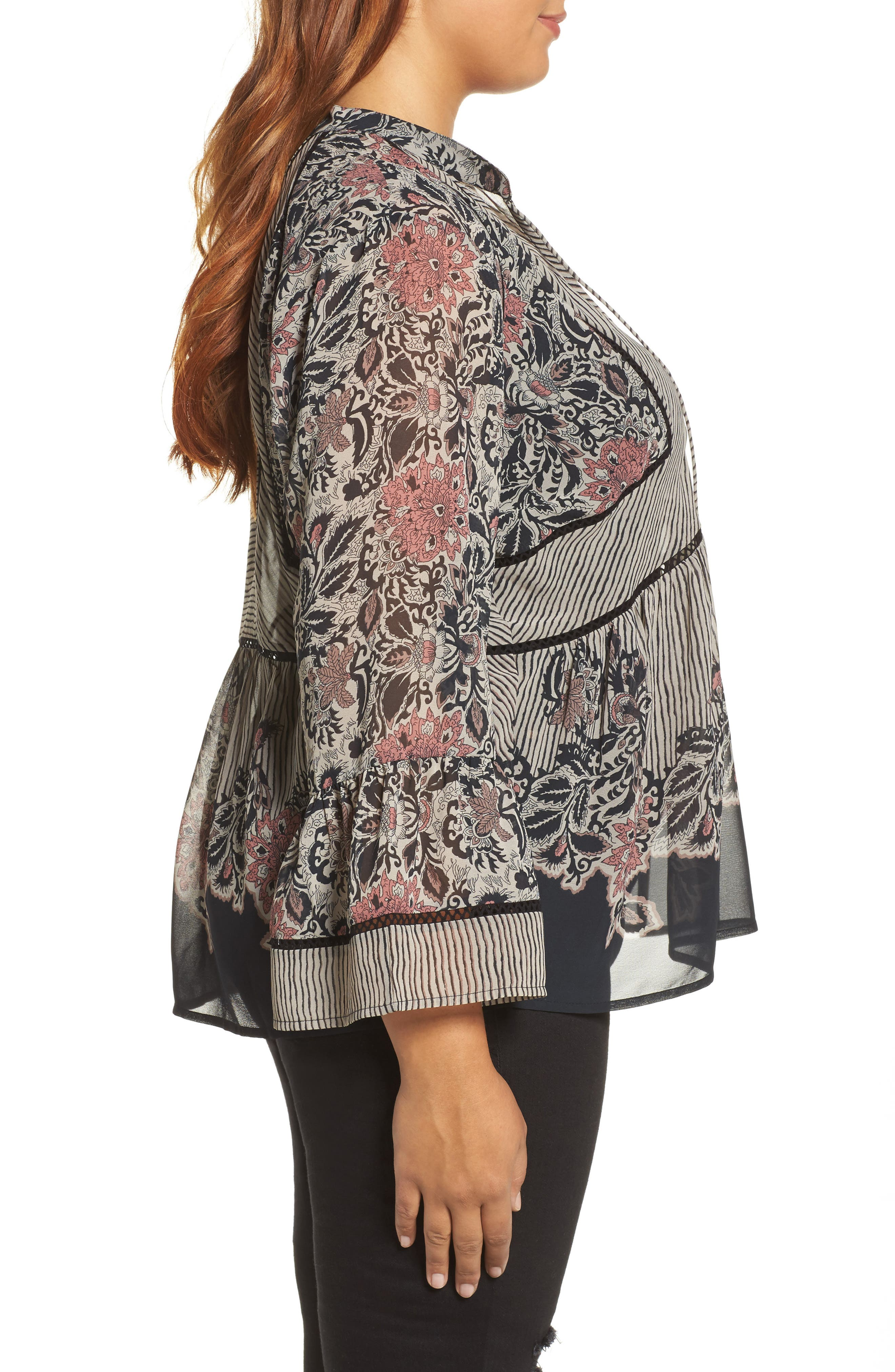Mixed Print Top,                             Alternate thumbnail 3, color,                             009
