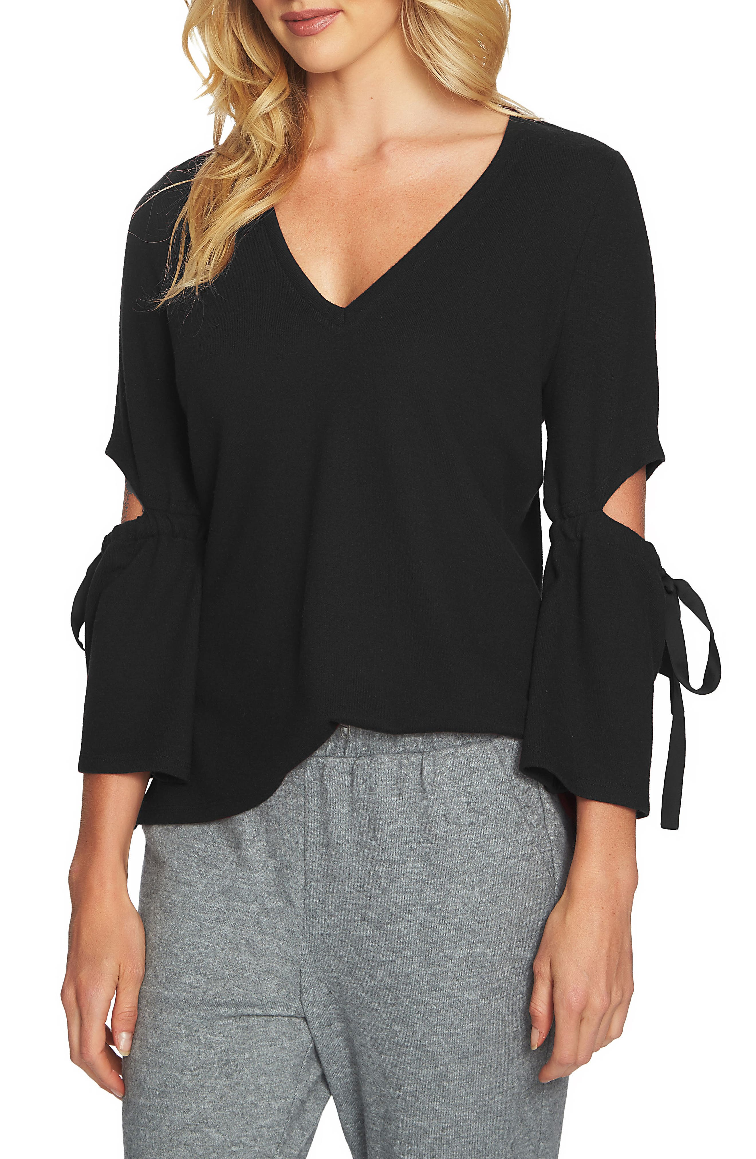 Cozy Slit Sleeve Top,                             Main thumbnail 1, color,                             010