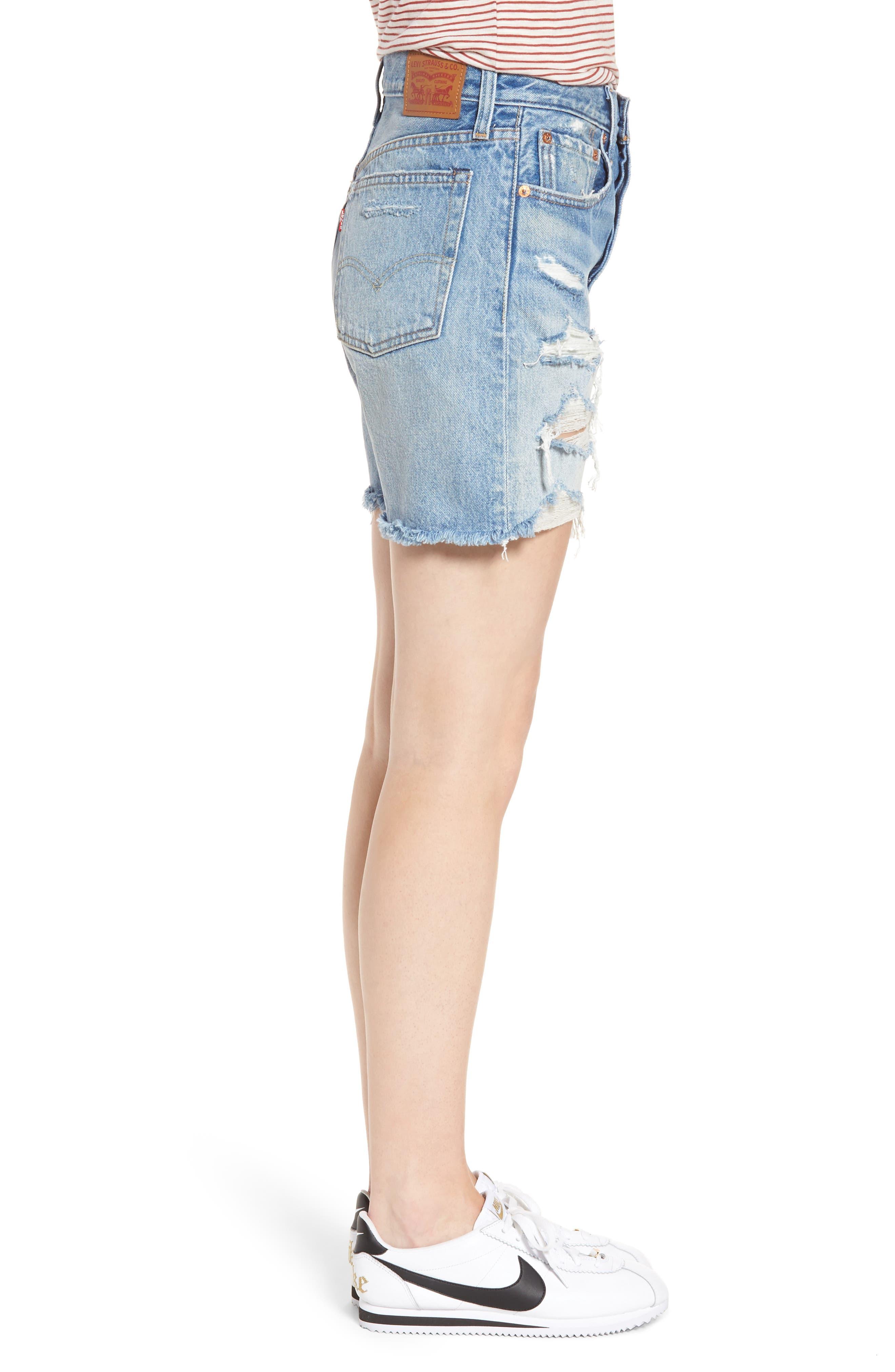 Indie Shredded Cutoff Denim Shorts,                             Alternate thumbnail 3, color,                             450