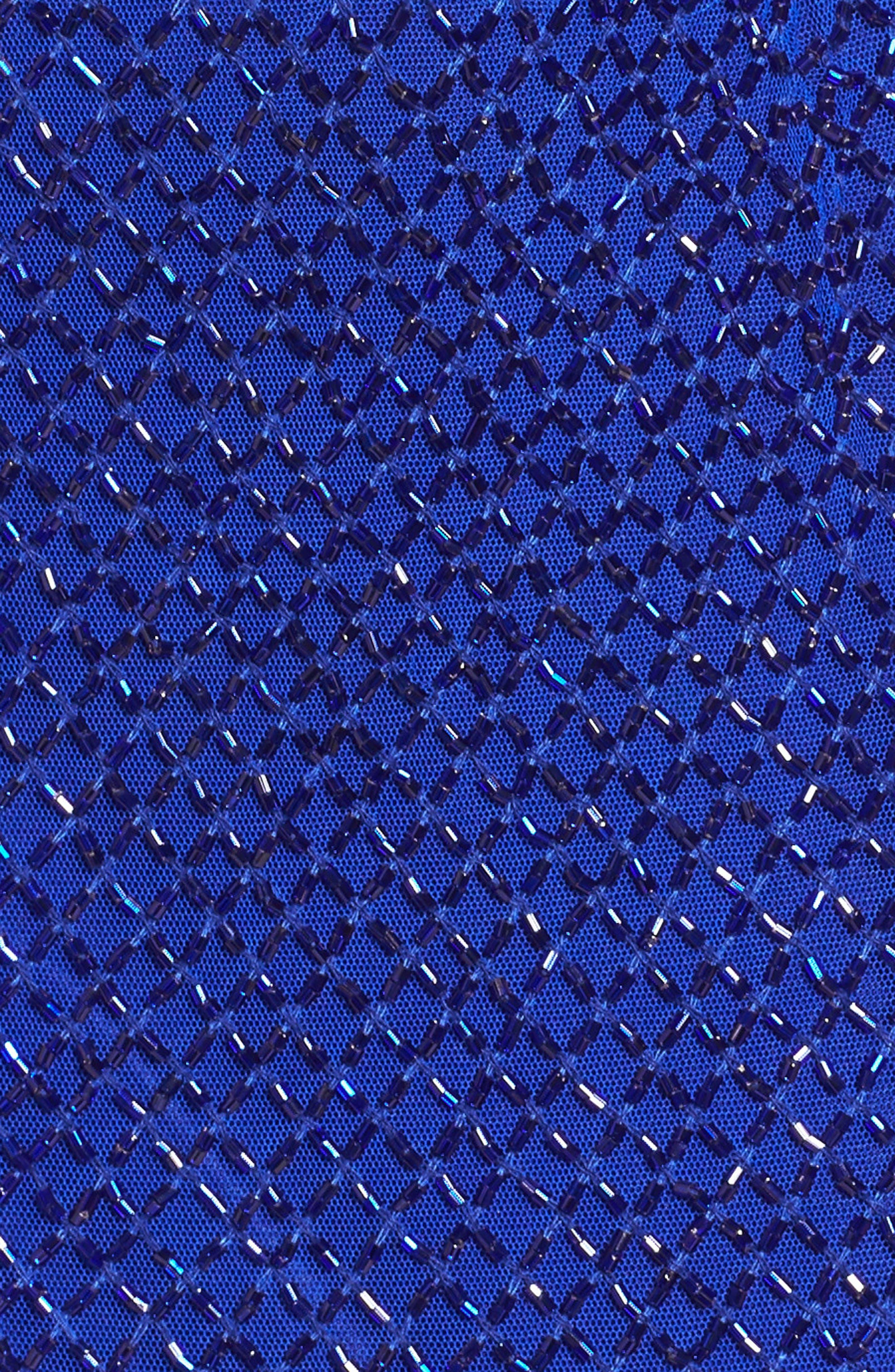 Beaded Mesh Gown,                             Alternate thumbnail 5, color,                             ROYAL