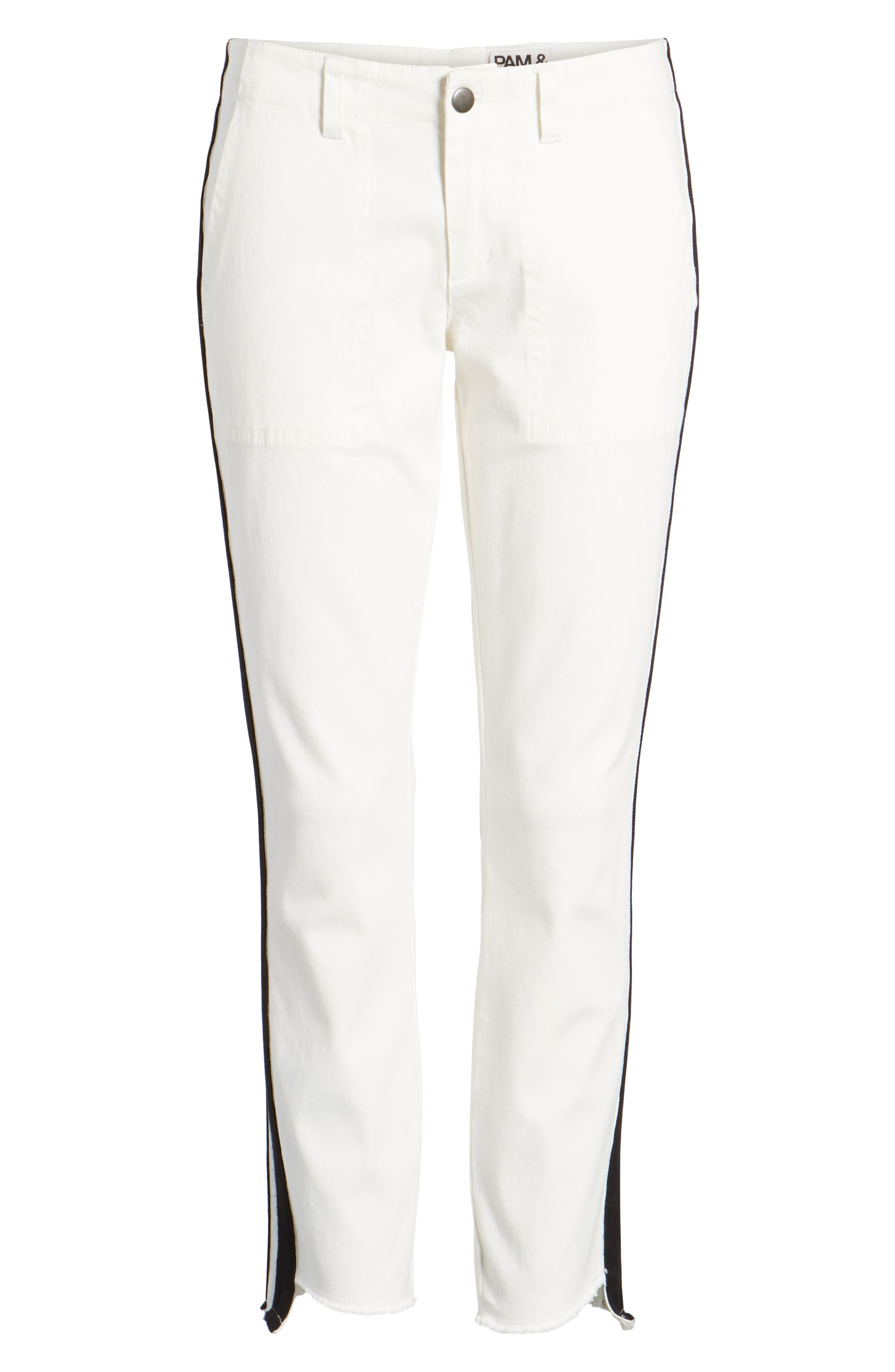 Offset Skinny Pants,                             Alternate thumbnail 6, color,                             WHITE