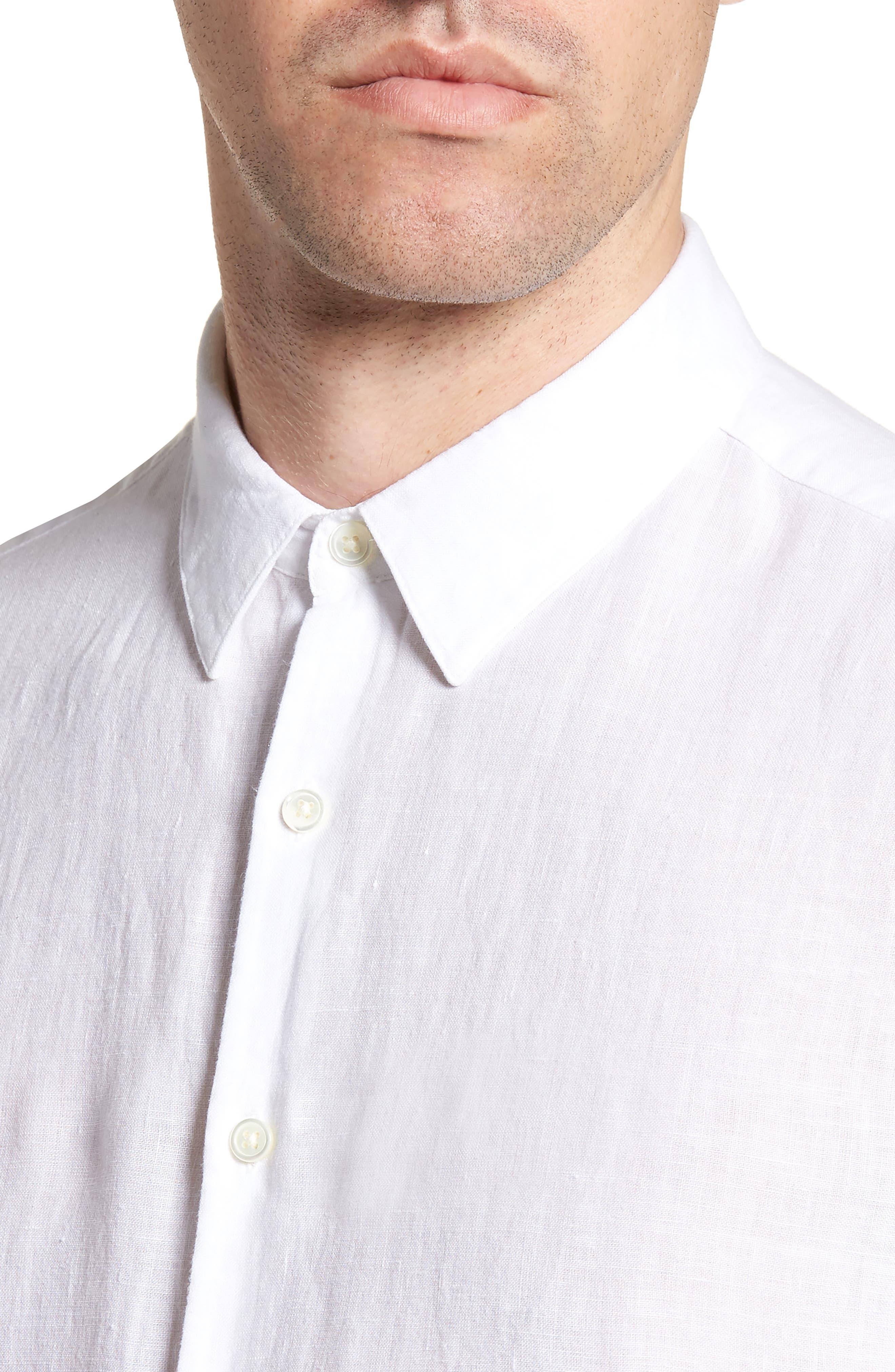 Irving Trim Fit Linen Short Sleeve Sport Shirt,                             Alternate thumbnail 4, color,                             100