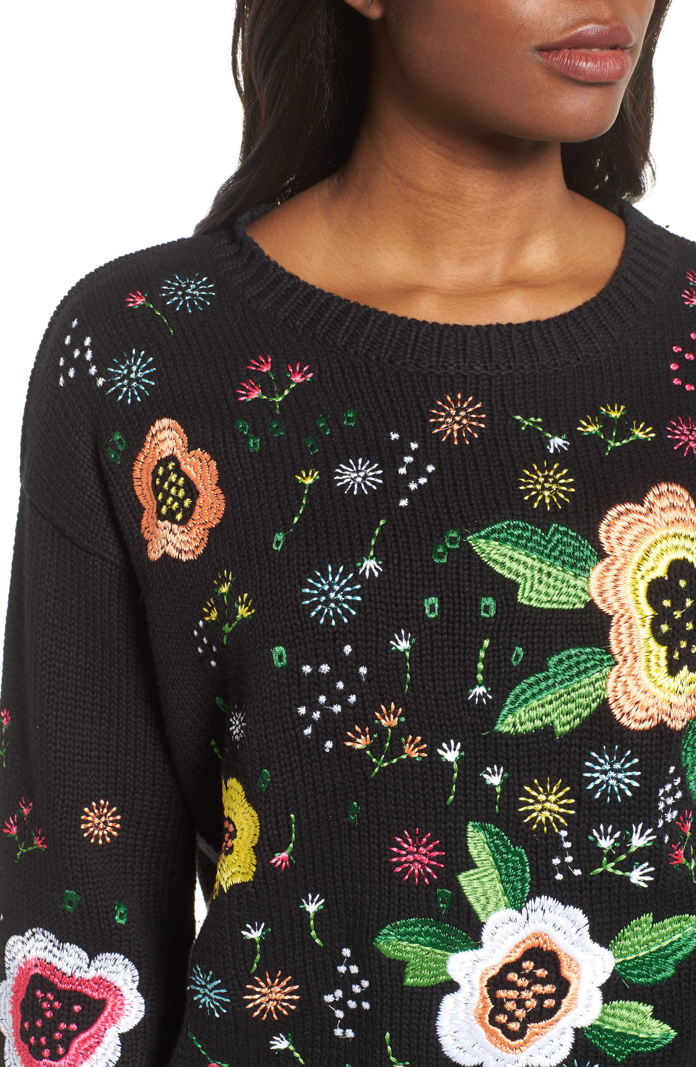 Floral Embroidered Sweater,                             Alternate thumbnail 4, color,                             001