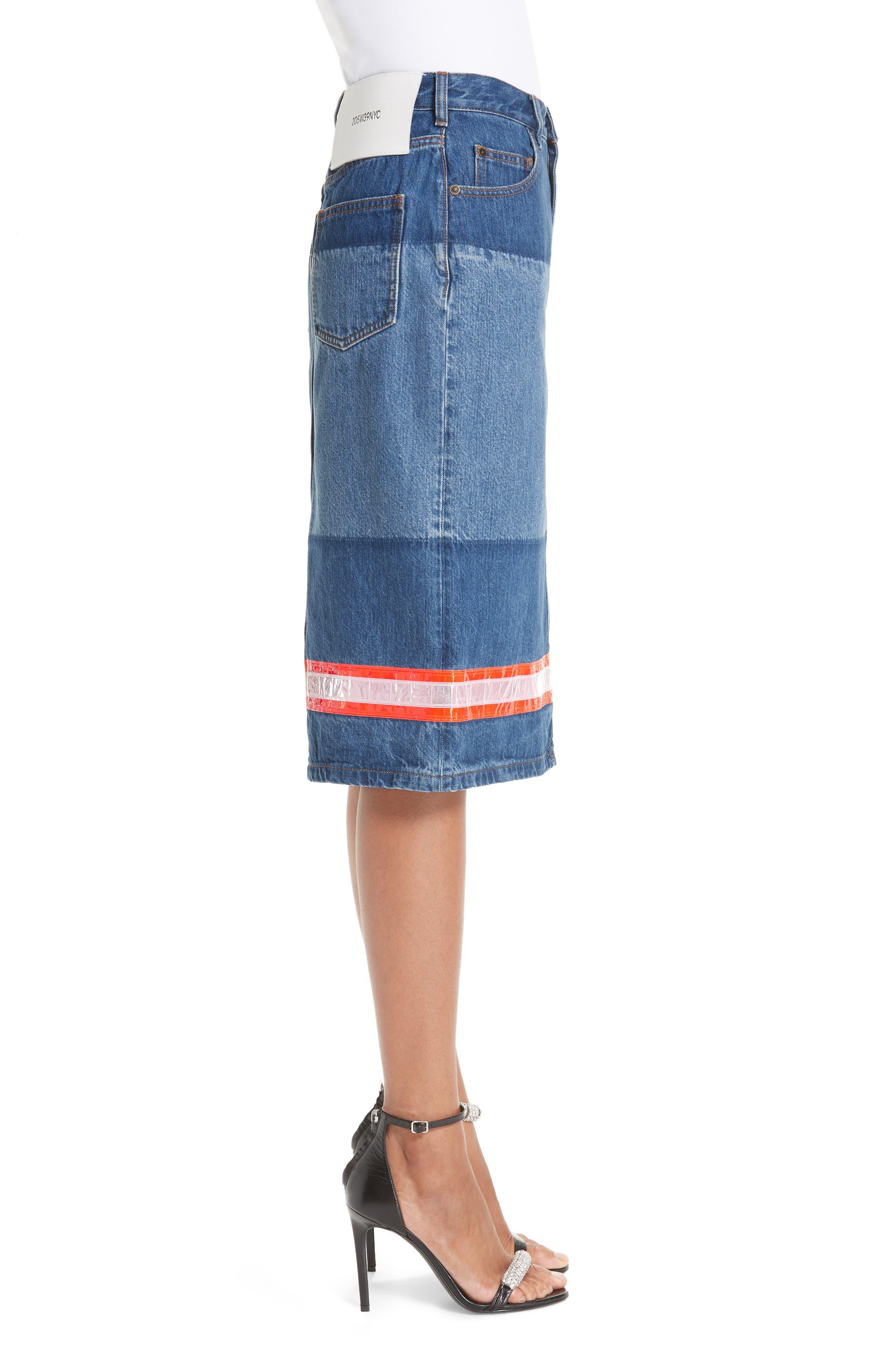 CALVIN KLEIN 205W39NYC,                             Reflective Stripe Mixed Wash Denim Skirt,                             Alternate thumbnail 3, color,                             BLUE