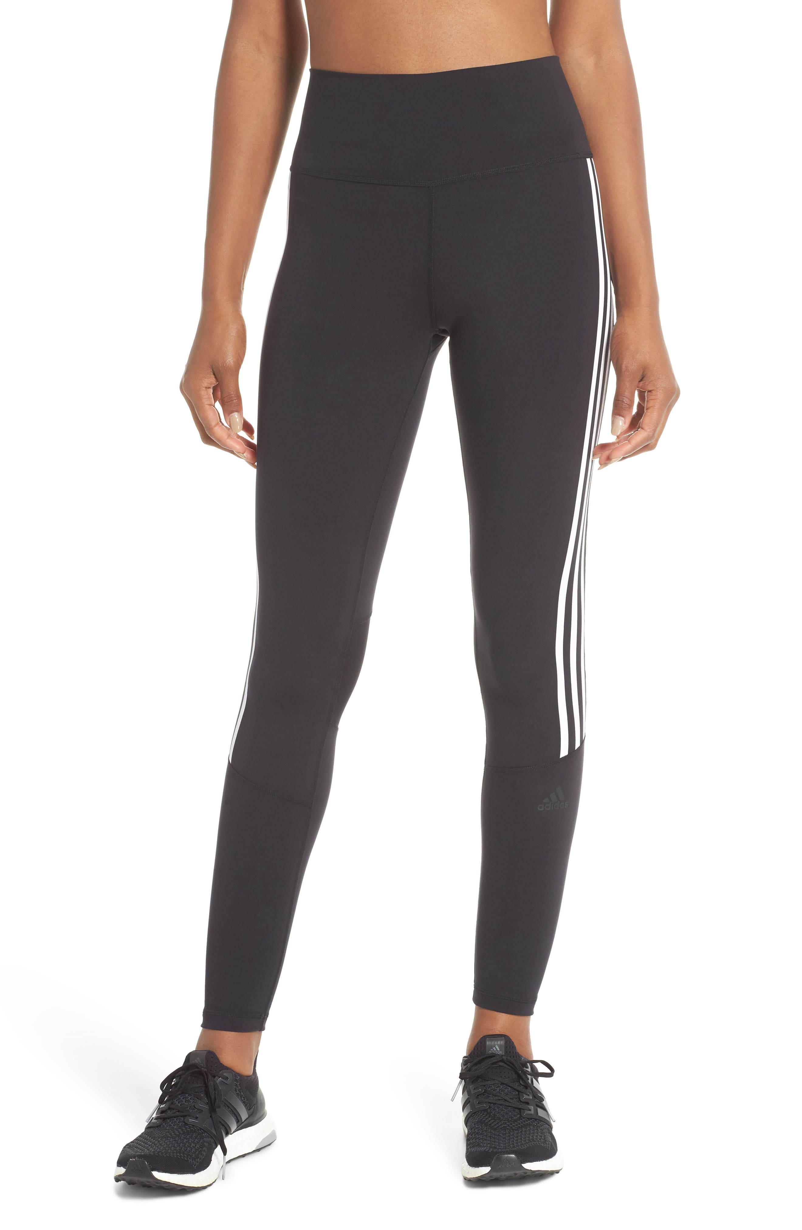 Believe This 3-Stripes High Waist Ankle Leggings,                         Main,                         color, BLACK/ WHITE