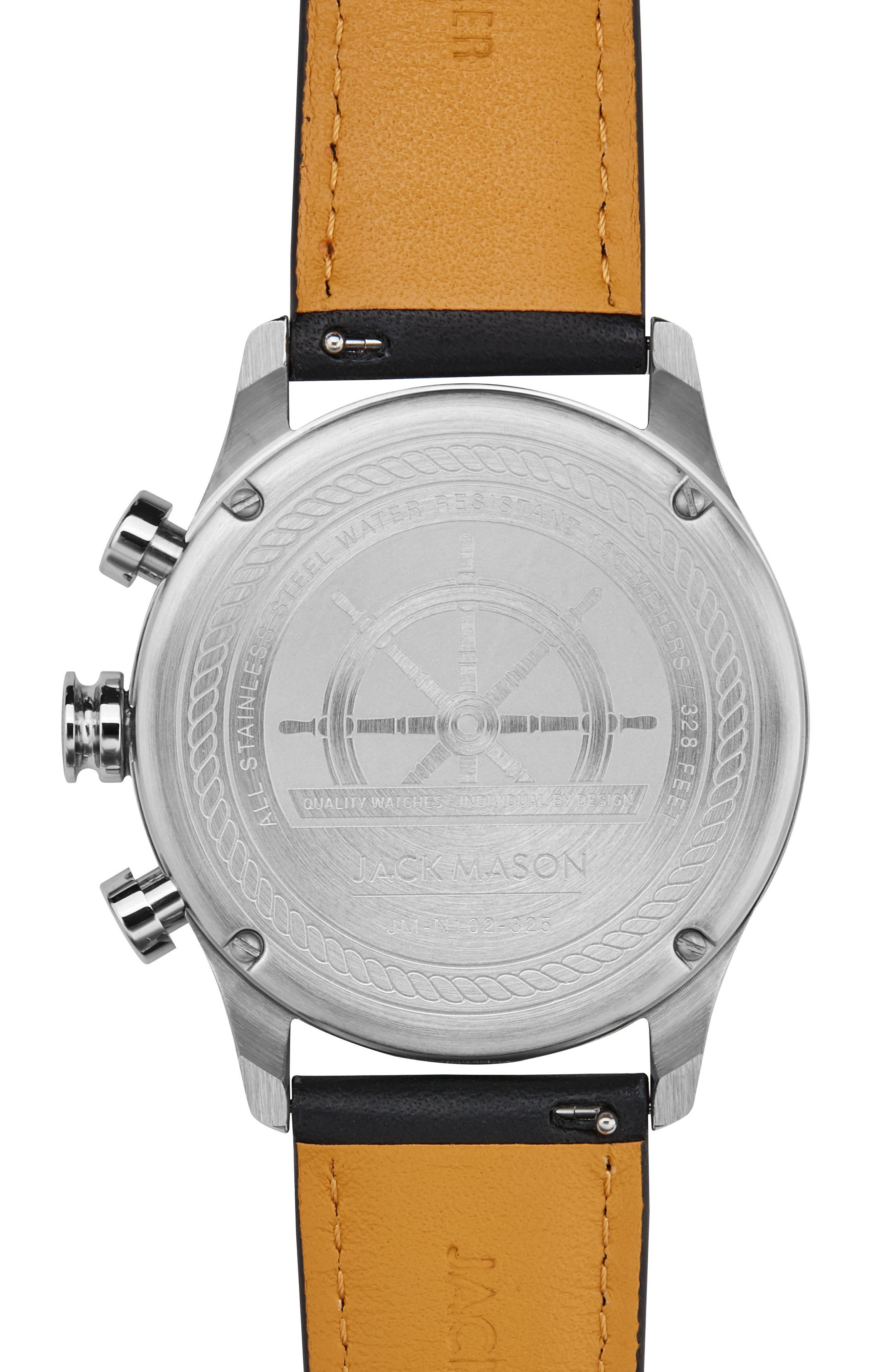 Nautical Chronograph Leather Strap Watch, 42mm,                             Alternate thumbnail 2, color,                             BLACK/ BLACK