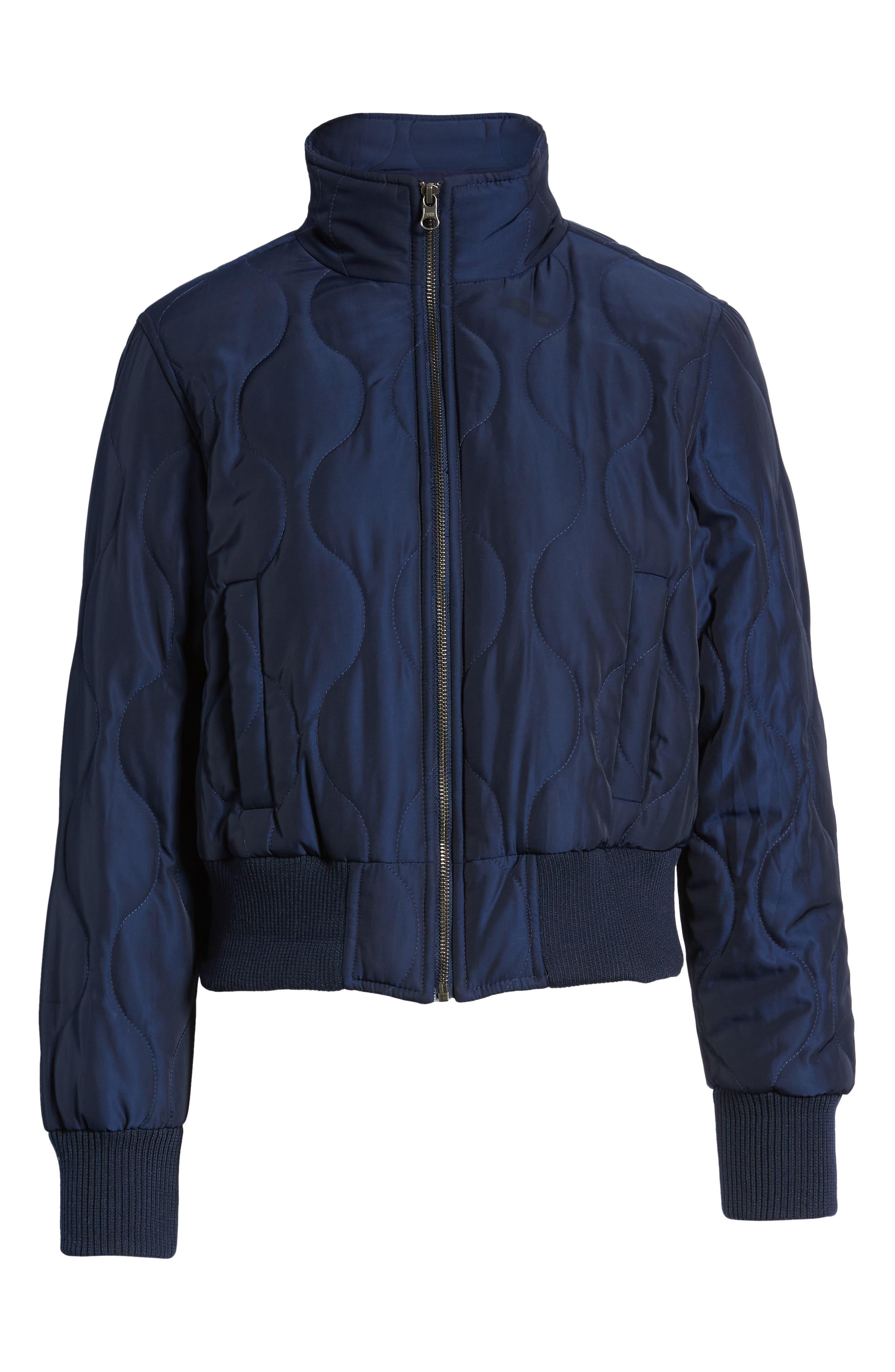 Satin Crop Puffer Jacket,                             Alternate thumbnail 6, color,                             NAVY MARITIME