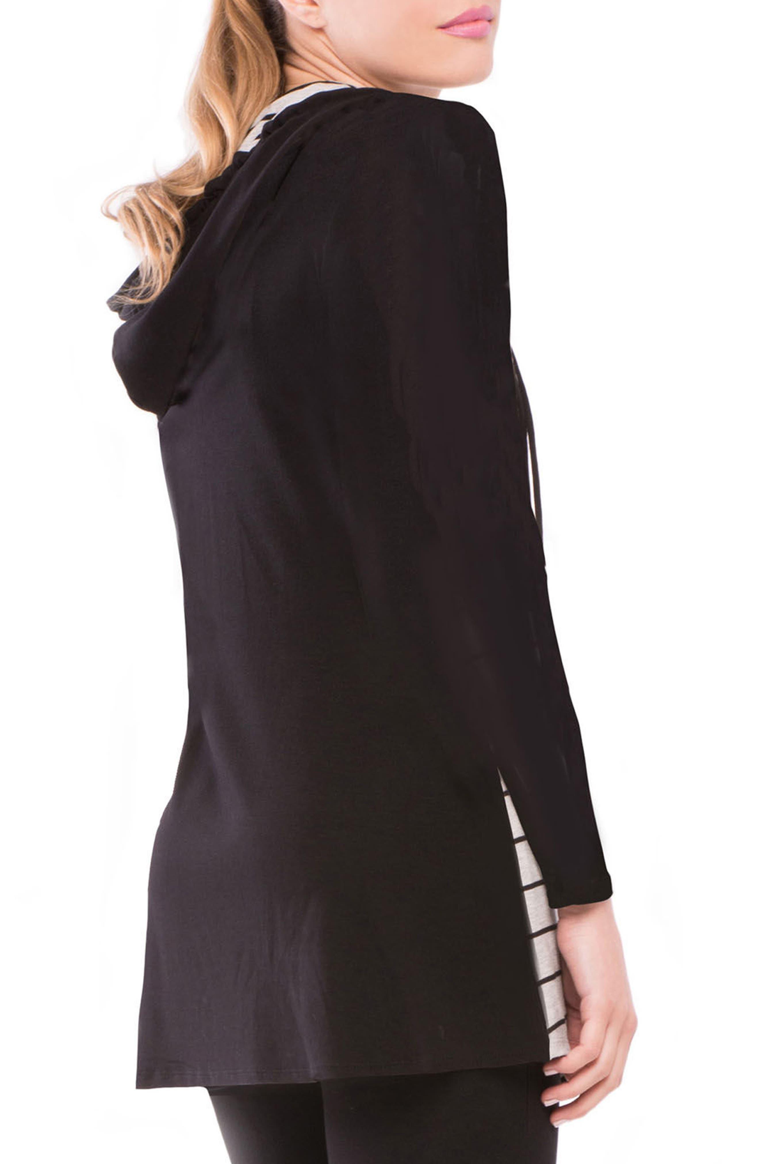 Skye Maternity/Nursing Hooded Tunic,                             Alternate thumbnail 3, color,                             GRAY/ BLACK STRIPE