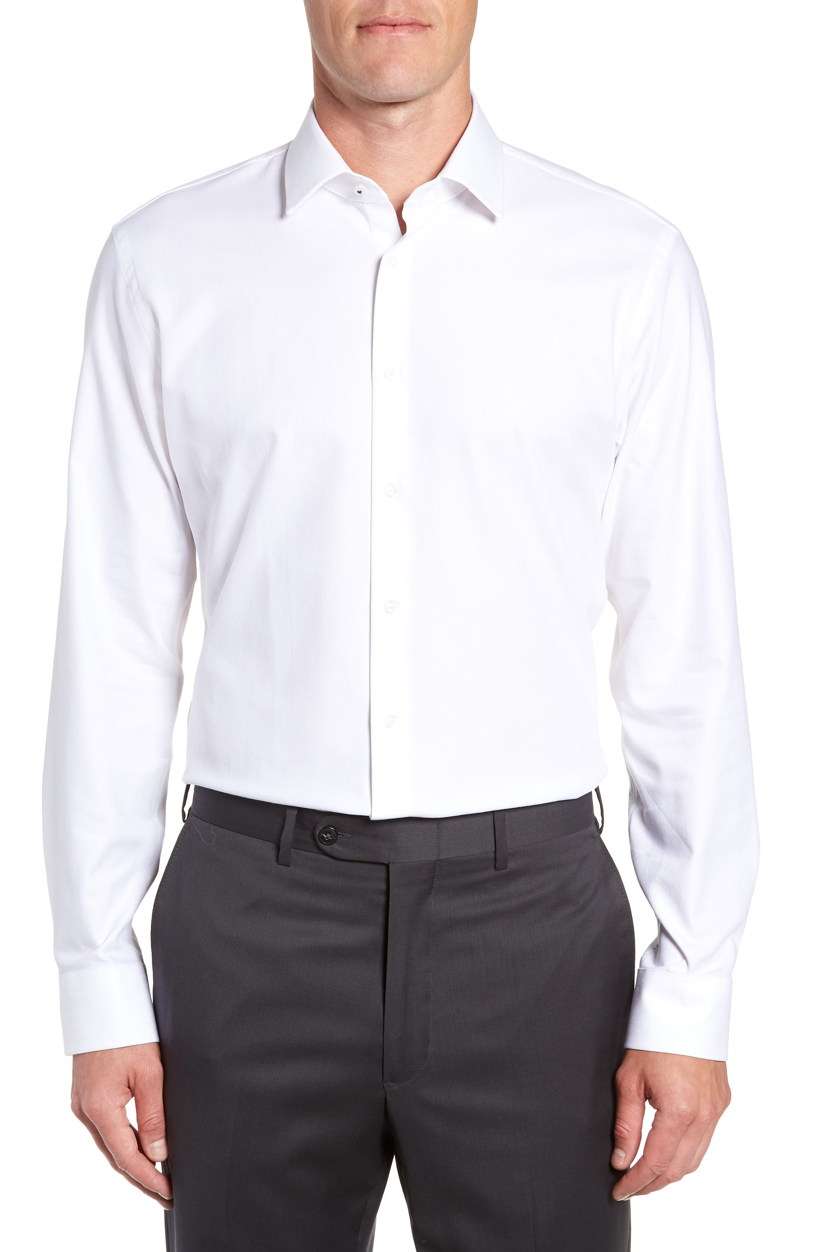 Tech-Smart Trim Fit Stretch Herringbone Dress Shirt,                         Main,                         color, WHITE