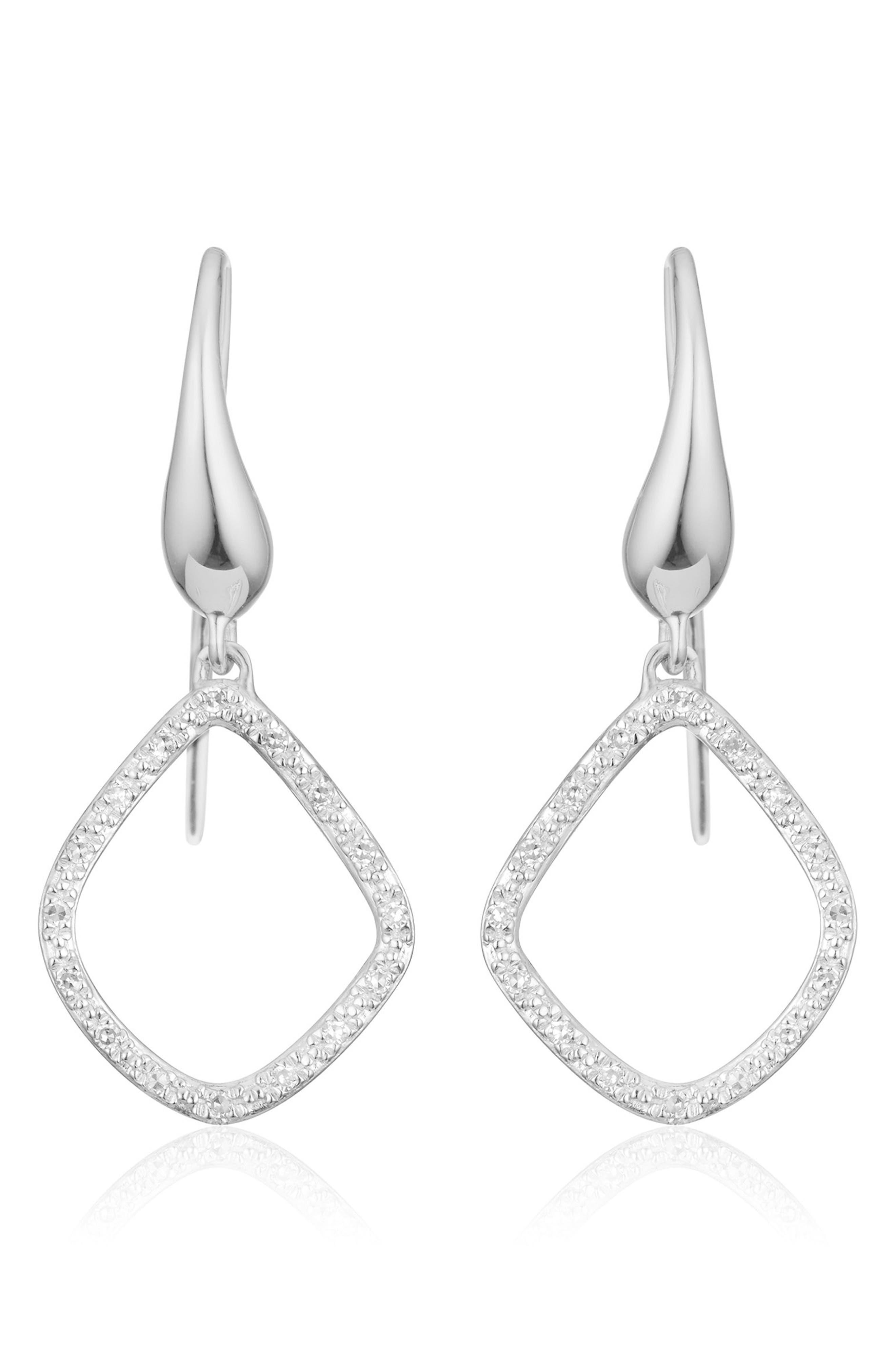 'Riva Kite' Diamond Drop Earrings,                             Main thumbnail 1, color,                             SILVER