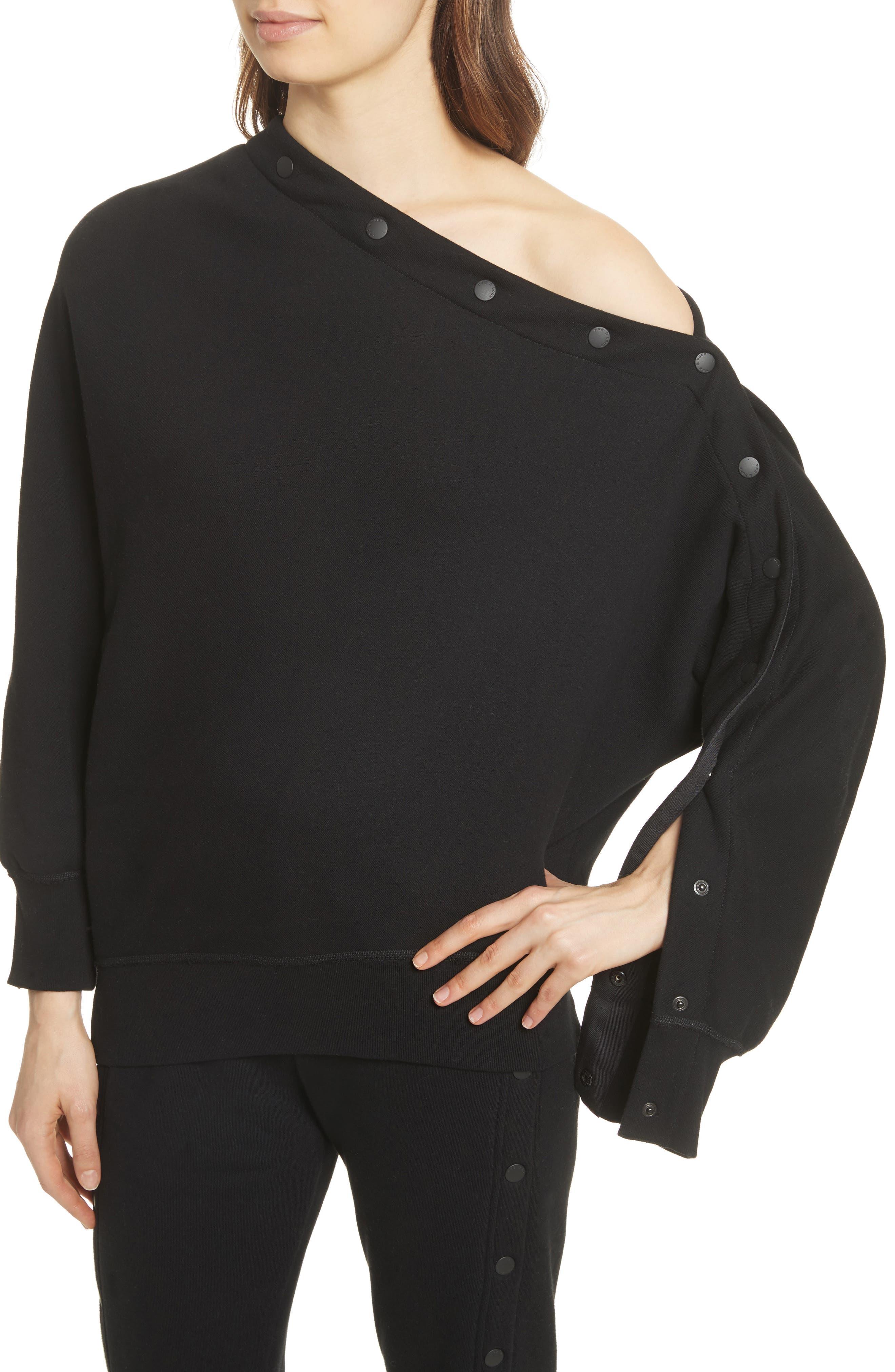 Kate Side Snap Cold Shoulder Sweatshirt,                             Alternate thumbnail 7, color,