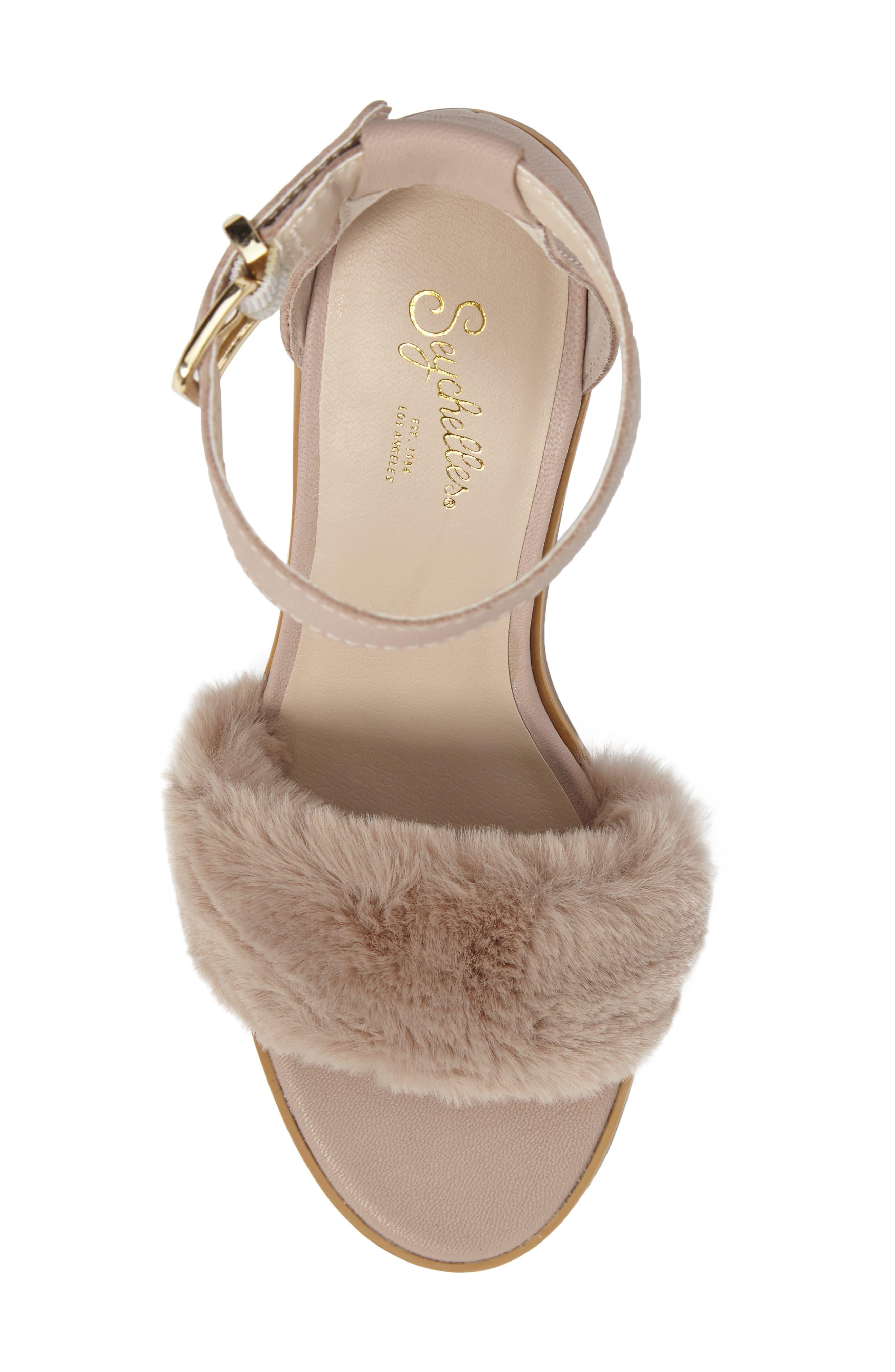 Faux Fur Ankle Strap Sandal,                             Alternate thumbnail 10, color,
