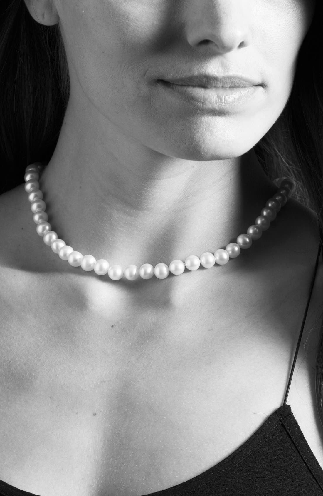 LAGOS,                             'Luna' 10mm Pearl Necklace,                             Alternate thumbnail 3, color,                             SILVER/ PEARL
