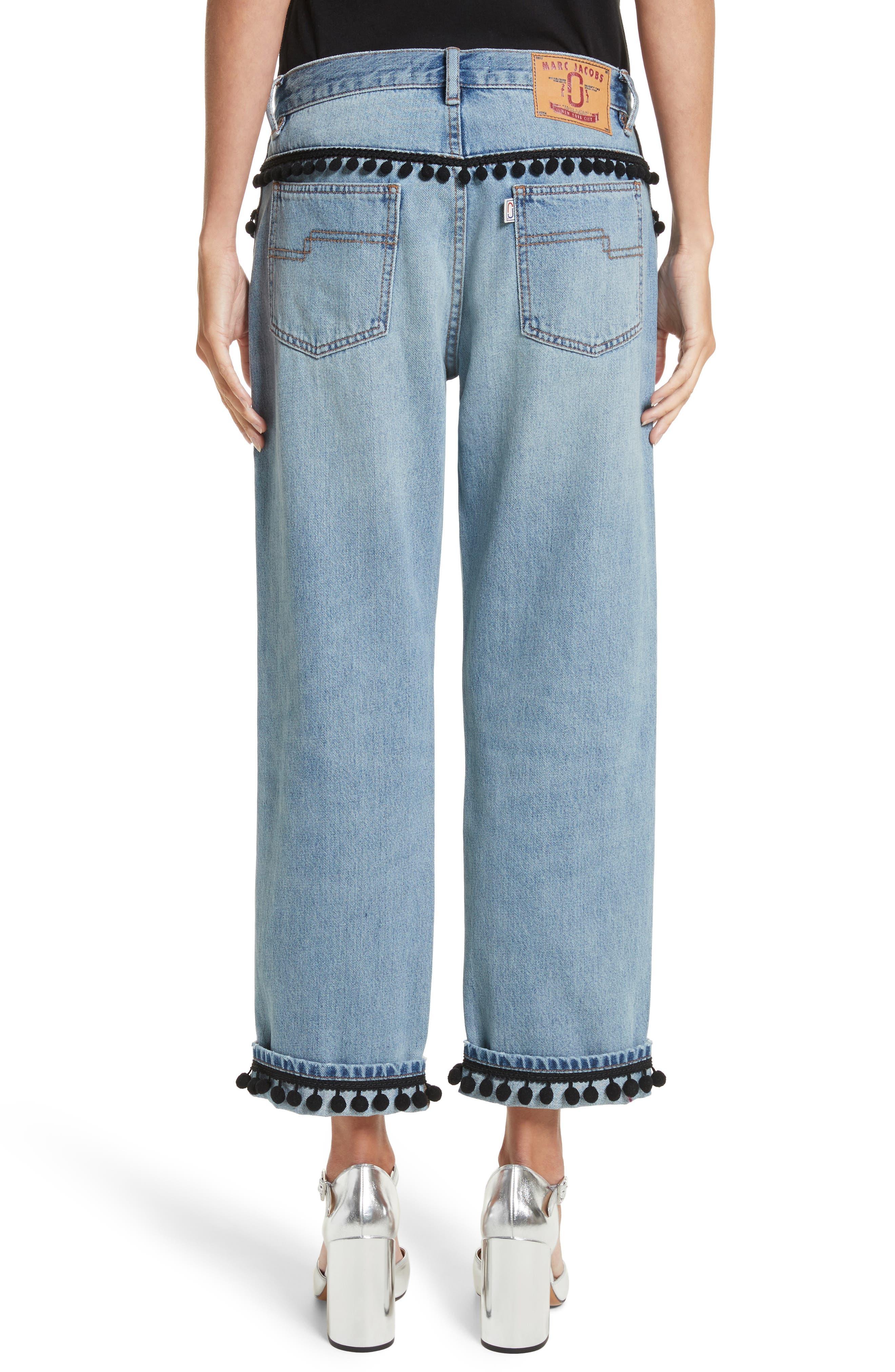 Pom Trim Crop Jeans,                             Alternate thumbnail 2, color,                             489
