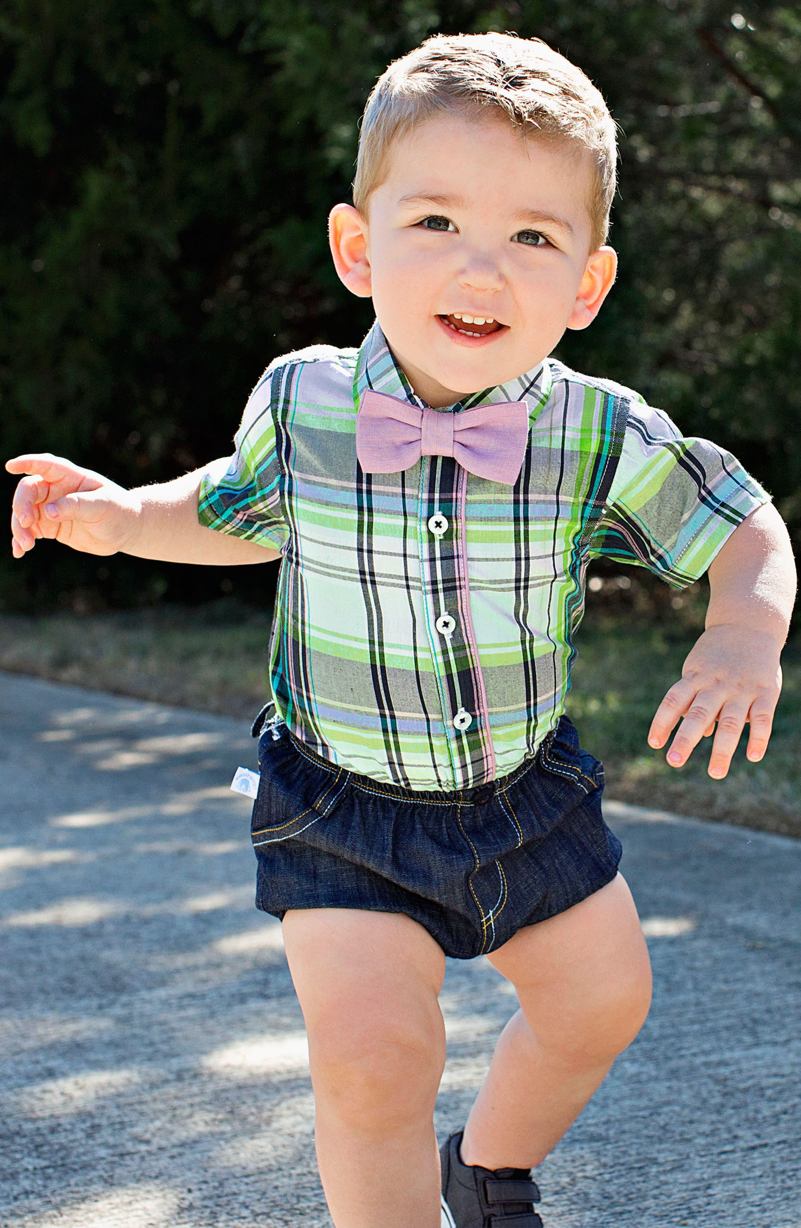 Christopher Plaid Bodysuit, Shorts & Bow Tie Set,                             Alternate thumbnail 3, color,                             110