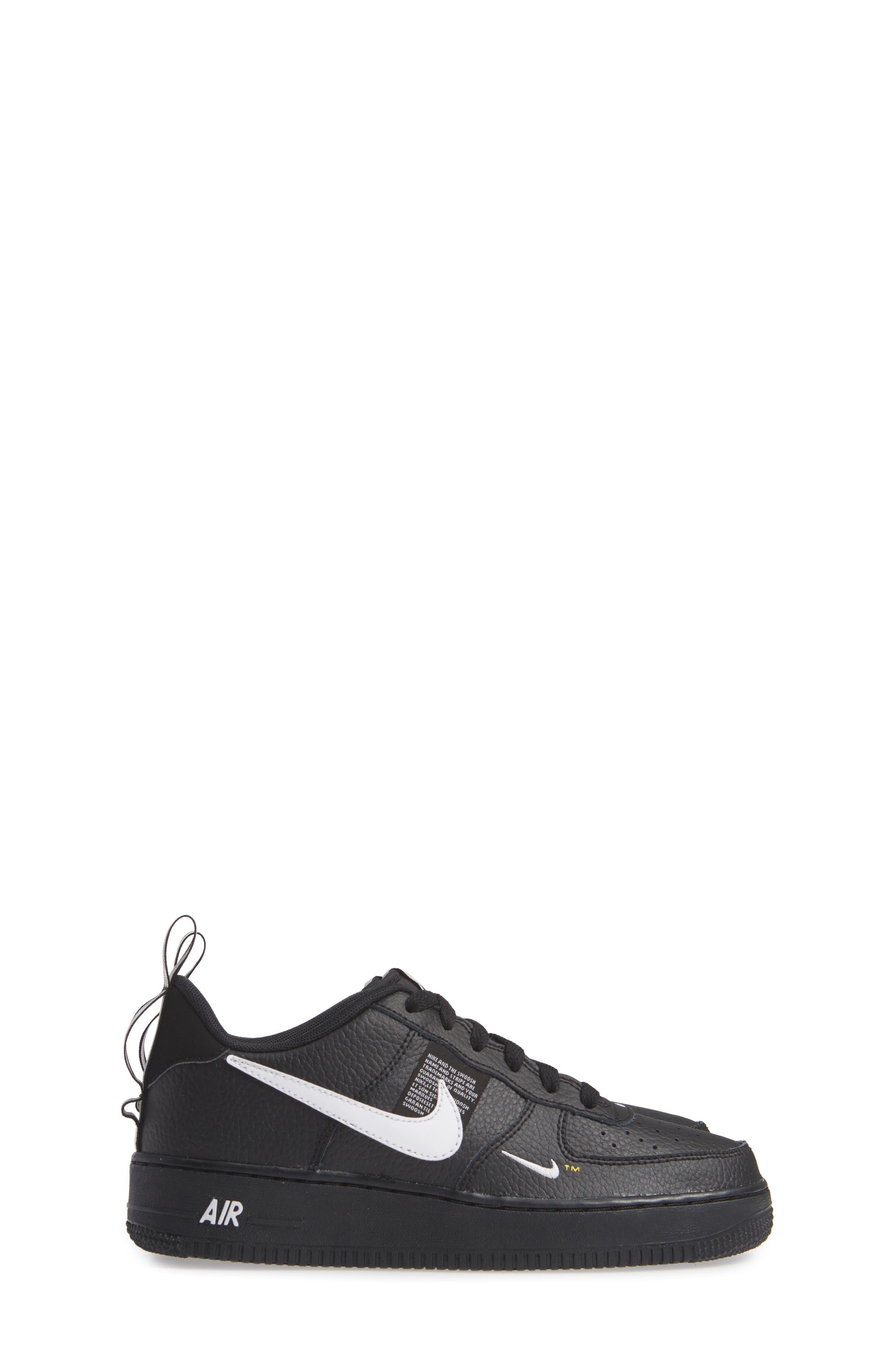 NIKE,                             Air Force 1 LV8 Sneaker,                             Alternate thumbnail 4, color,                             BLACK/ WHITE-BLACK-TOUR YELLOW