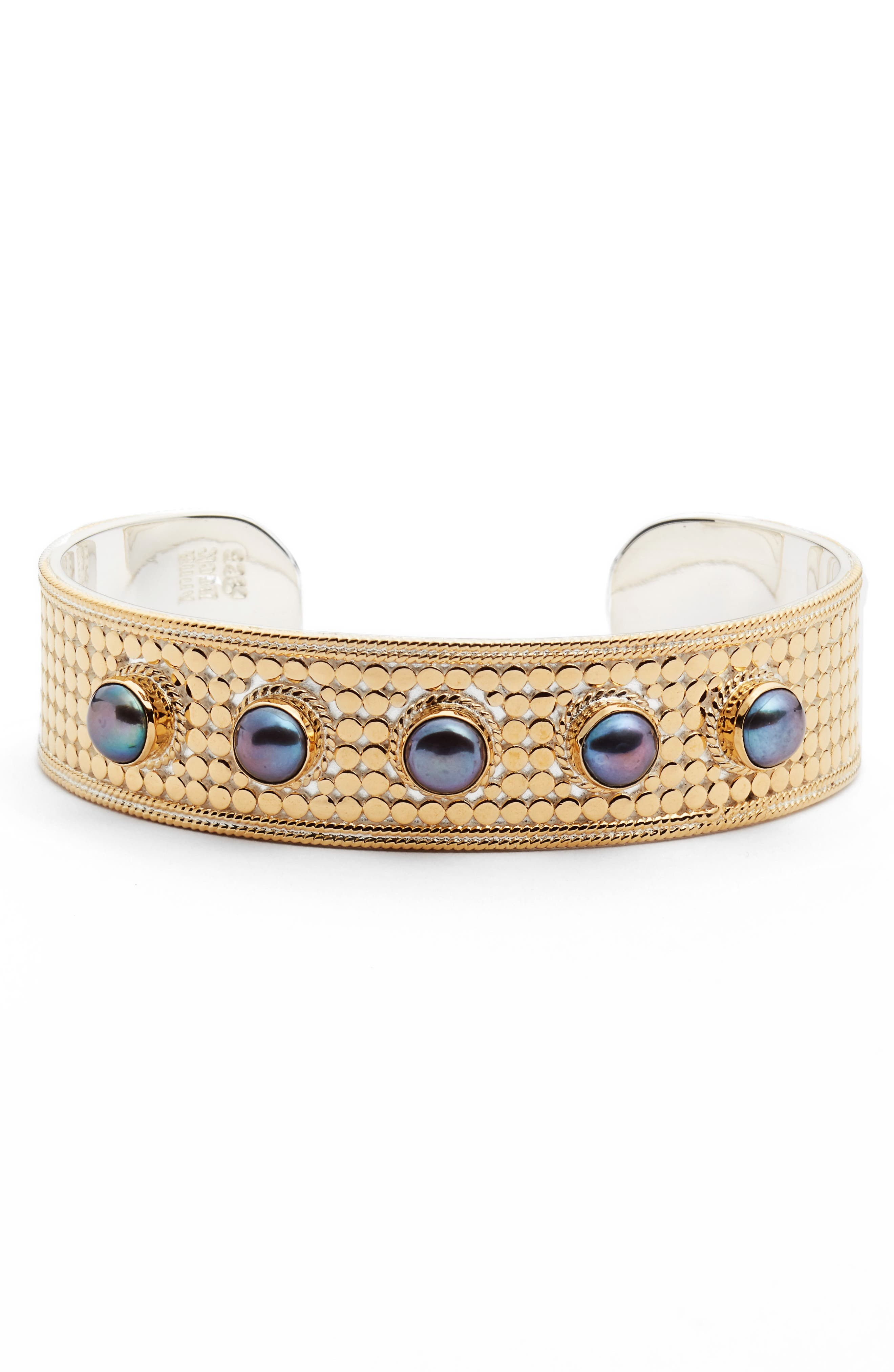 Genuine Blue Pearl Multistone Cuff,                         Main,                         color, GOLD/ BLUE PEARL