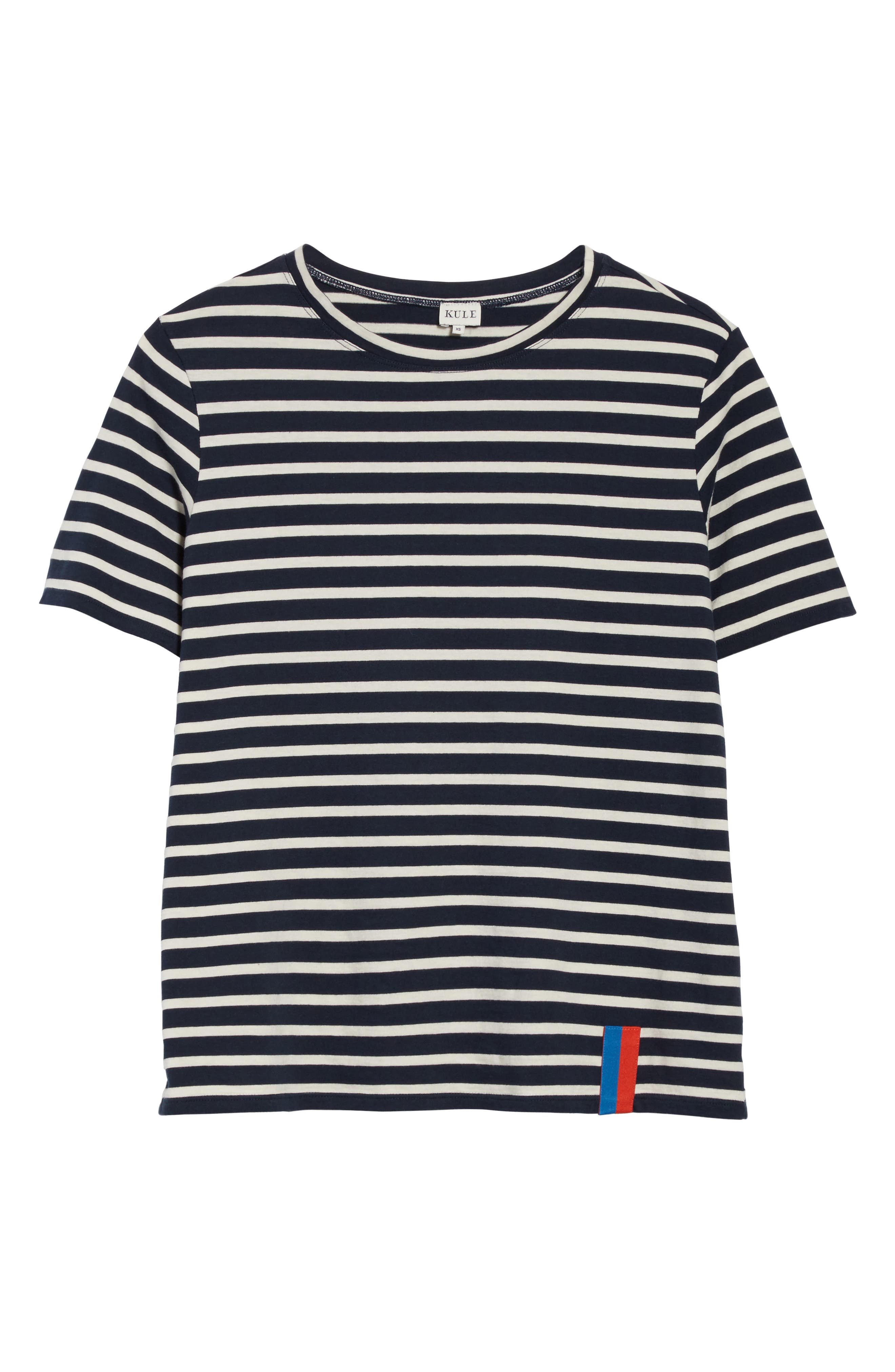 The Modern Stripe Cotton Tee,                             Alternate thumbnail 6, color,                             NAVY/ CREAM