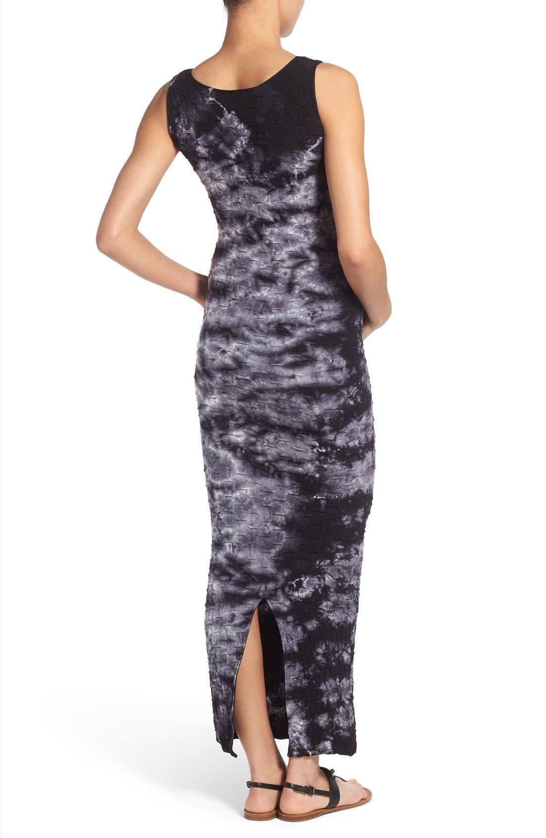 'Lattice' Tie Dye Textured Maternity Maxi Dress,                             Alternate thumbnail 3, color,                             BLACK