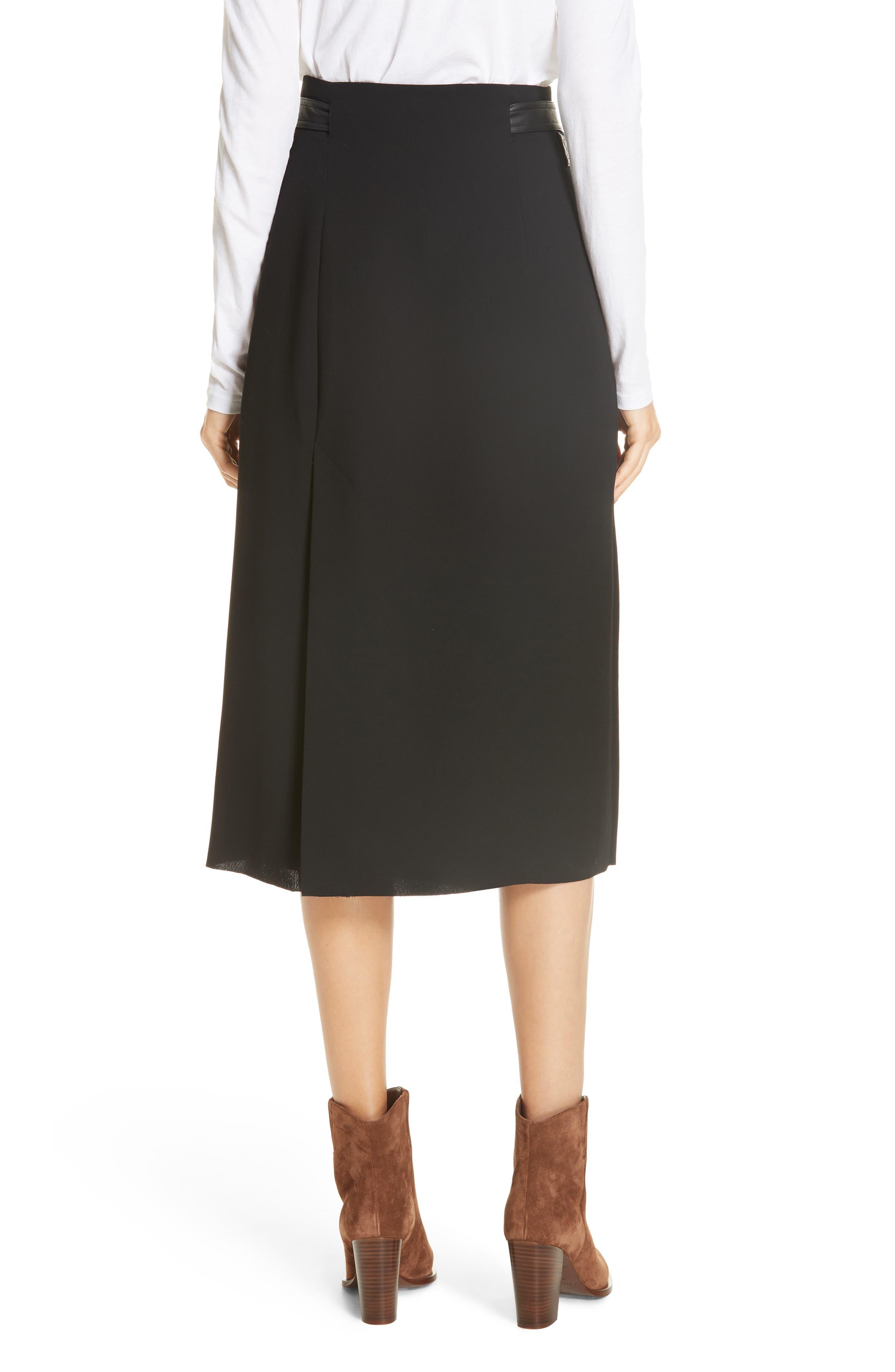 Belted Wrap Skirt,                             Alternate thumbnail 2, color,                             BLACK