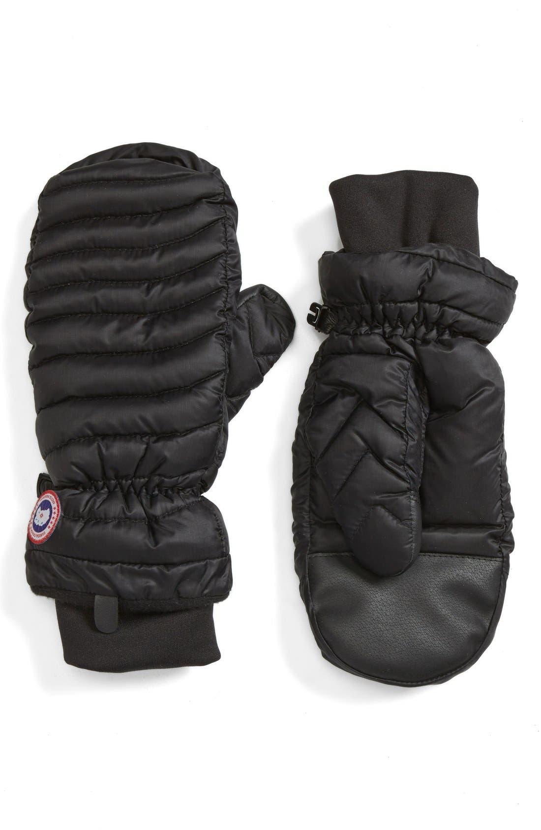 CANADA GOOSE Lightweight Quilted Mittens, Main, color, BLACK