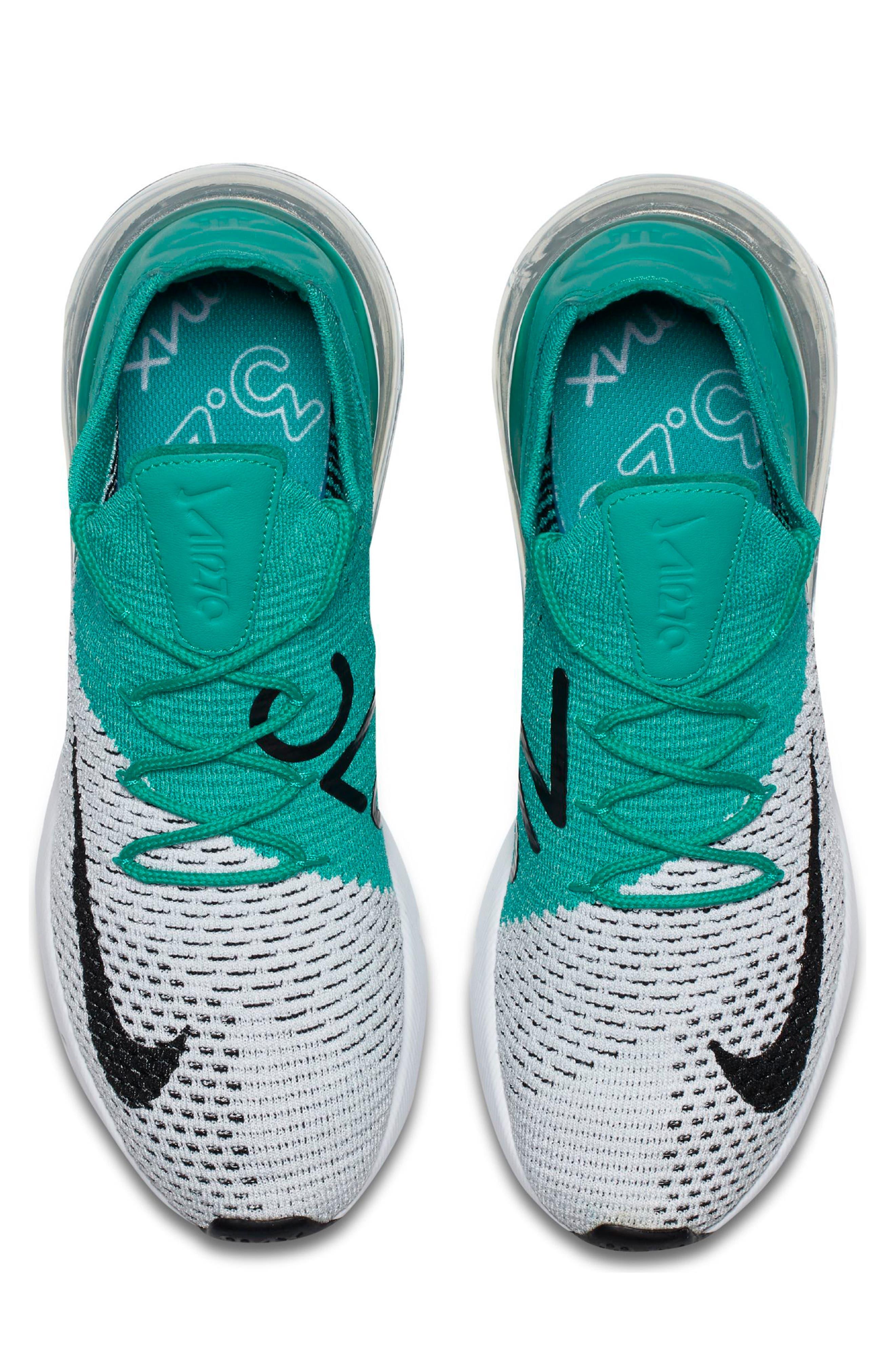 Air Max 270 Flyknit Sneaker,                             Alternate thumbnail 4, color,                             EMERALD/ BLACK/ PURE PLATINUM
