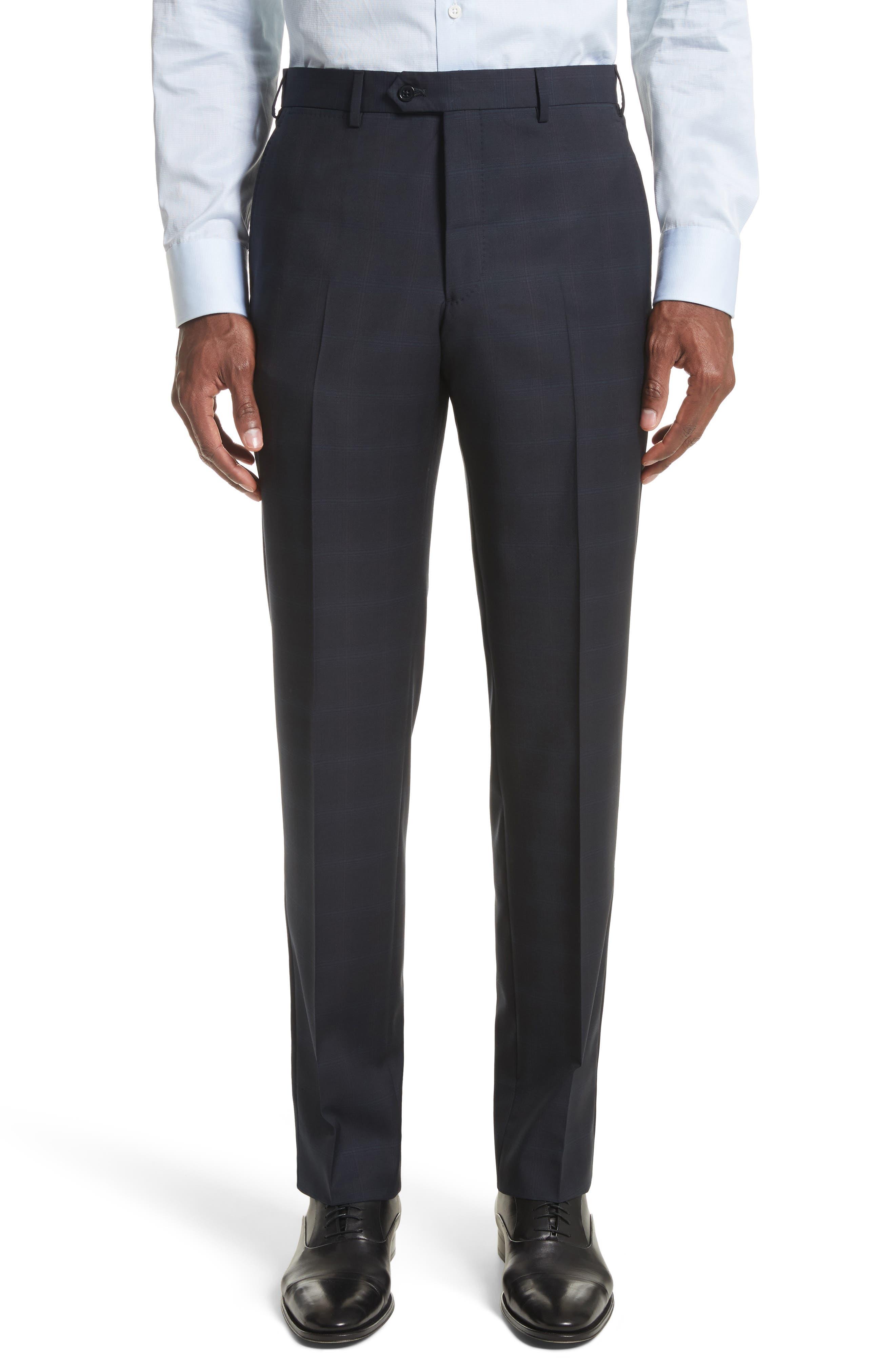 Trim Fit Plaid Wool Suit,                             Alternate thumbnail 6, color,                             465
