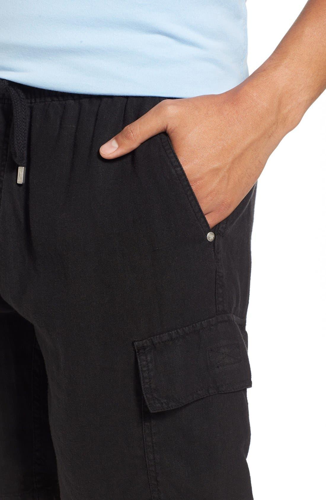 Vilbrequin Linen Cargo Shorts,                             Alternate thumbnail 4, color,                             001